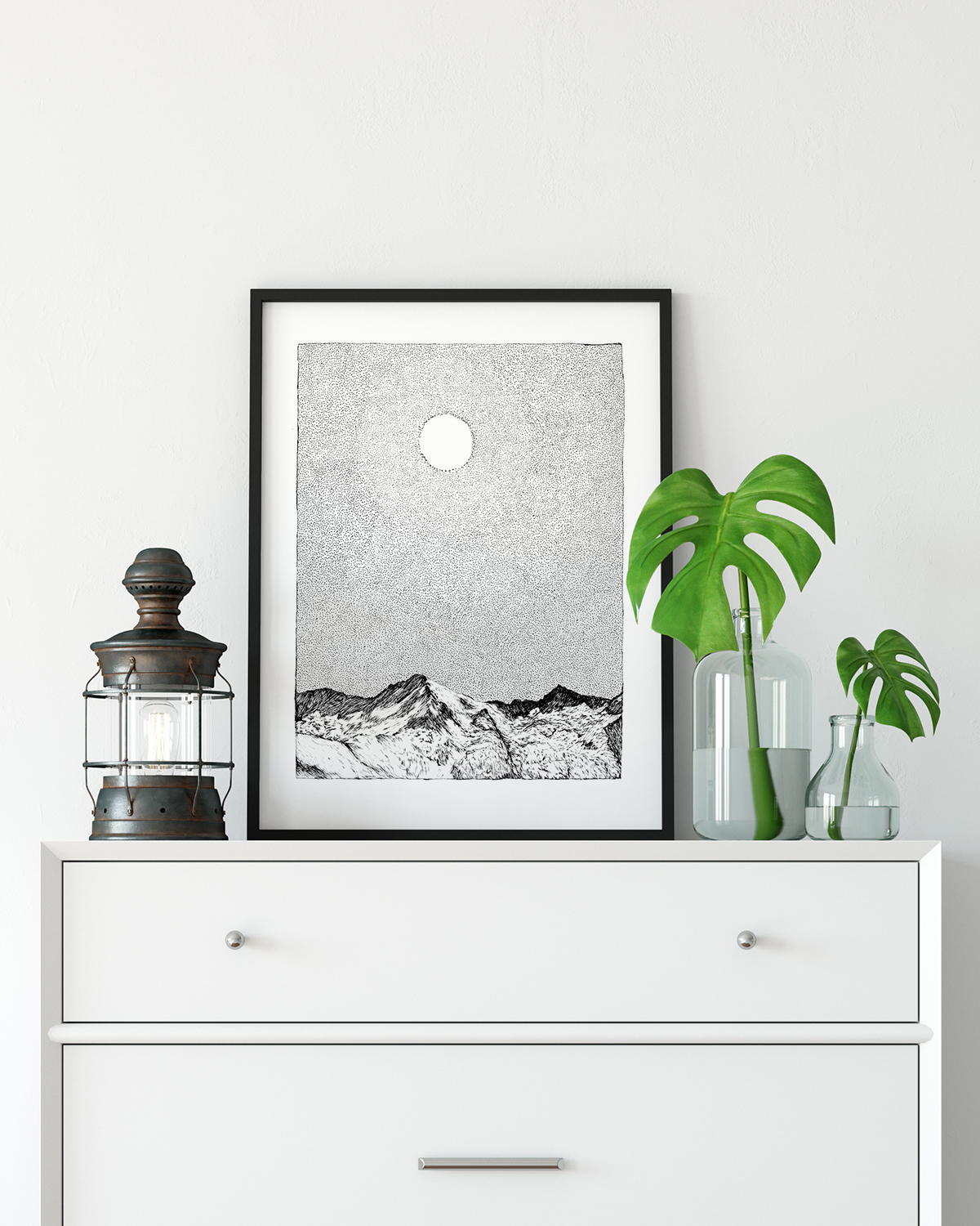 Framed art print of mountains by drawn together art collective