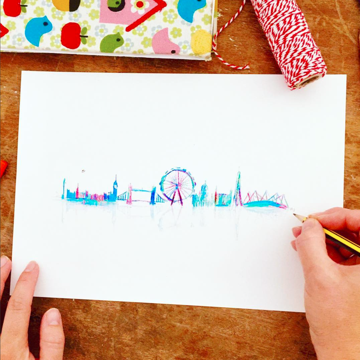 maria from drawn together art signing art print of london sky line