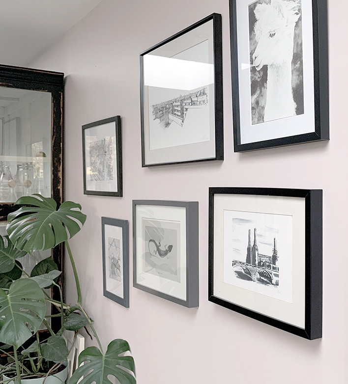 Gallery Wall Display with a black and white theme