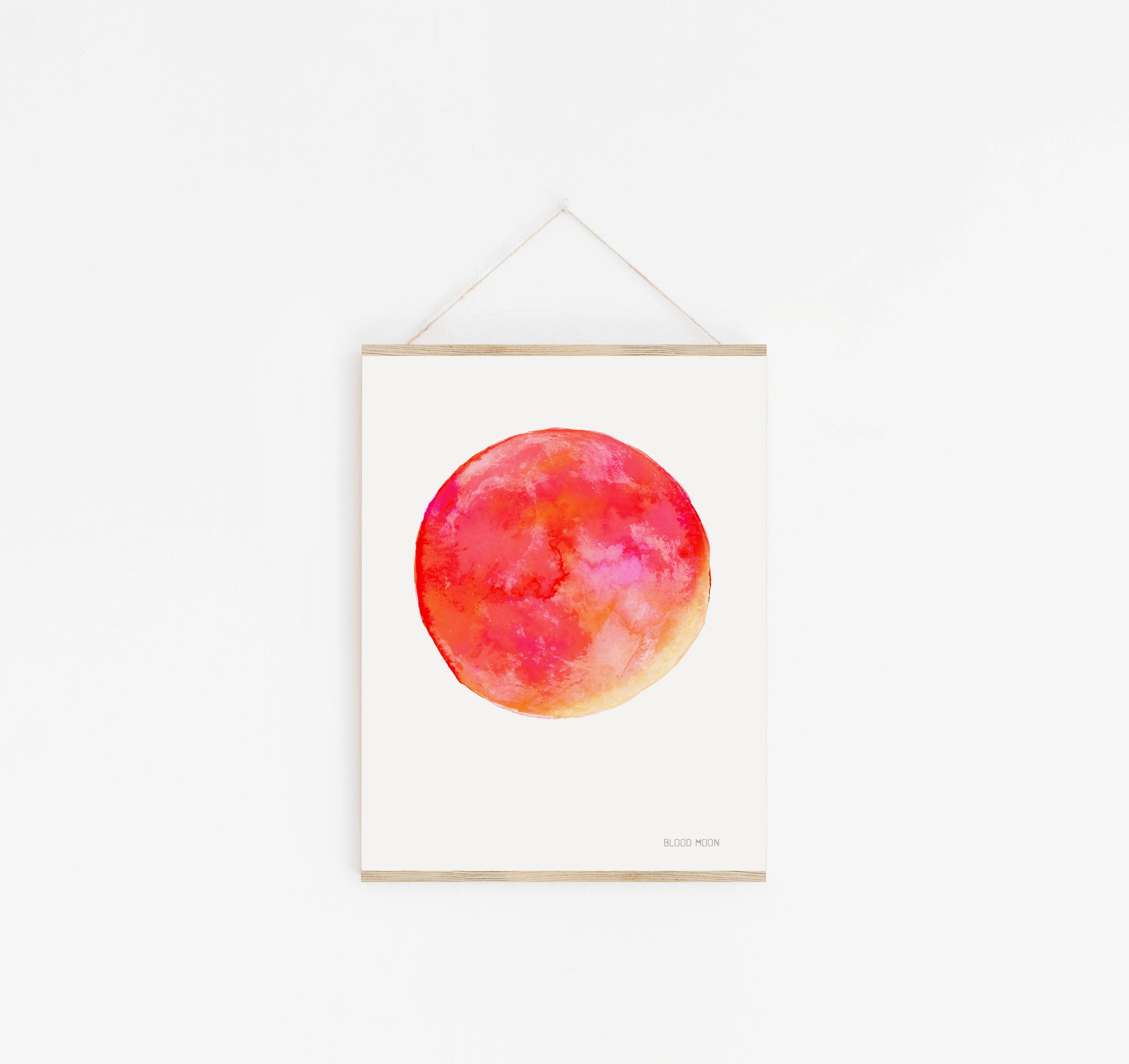 Moon print displayed with poster hanger