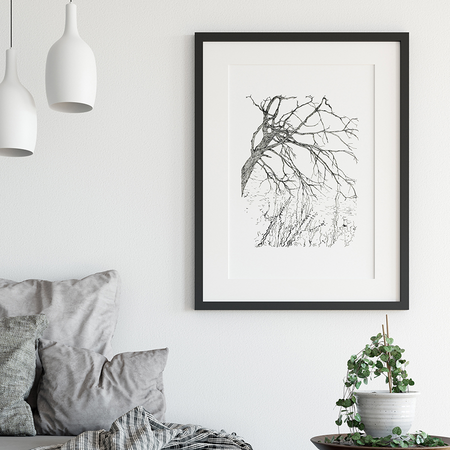 Black and white print with black frame with mount