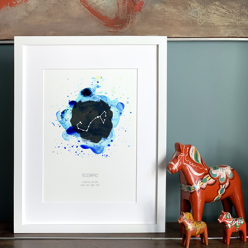 a blue watercolour zodiac star sign print by drawn together art collective
