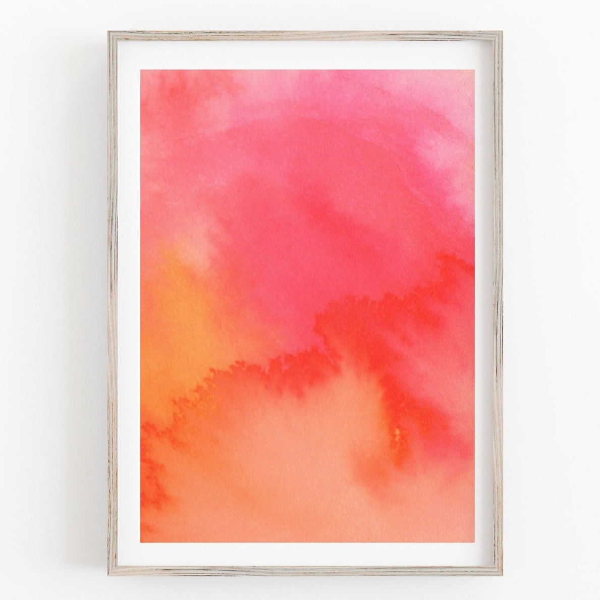 Coral Red Abstract Art Print (No 1) by Drawn Together Art Collective
