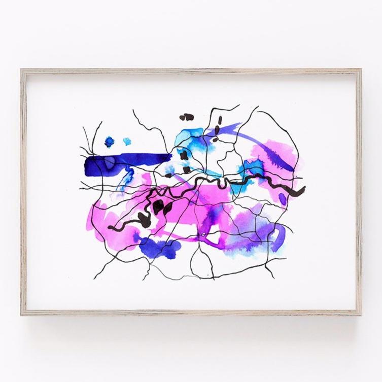 London Minimalist Map - Colourful Abstract London Wall Art