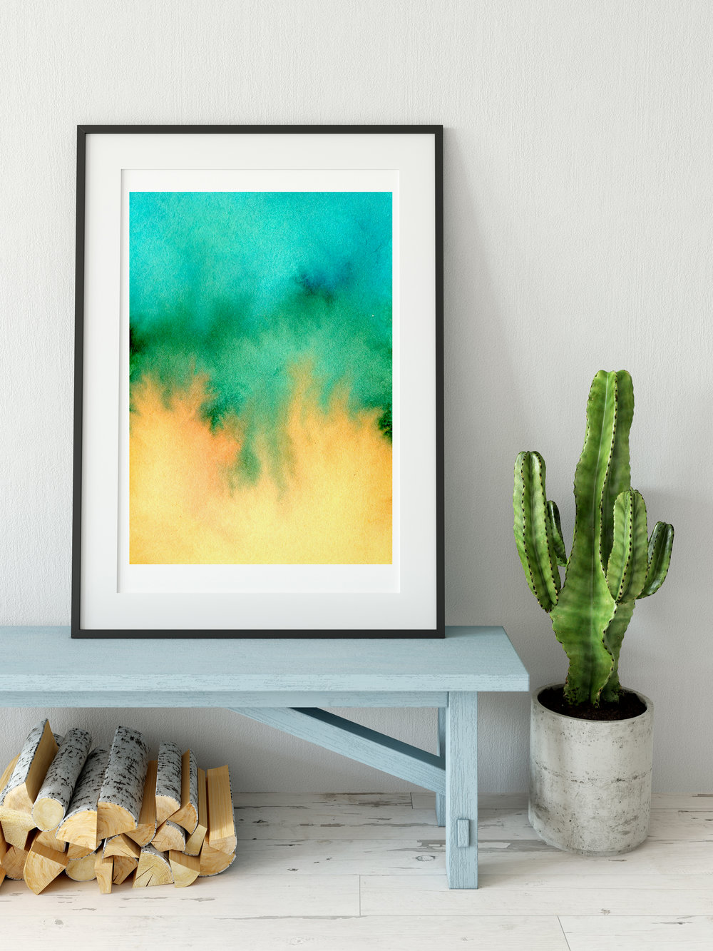 Orange and Teal Abstract Art Print by Drawn Together Art Collective
