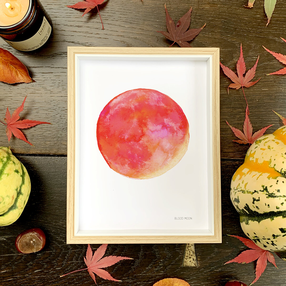 Blood Moon Print in A5 Frame with Autumn Leaf and  Candle  and pumpkins copy.jpg