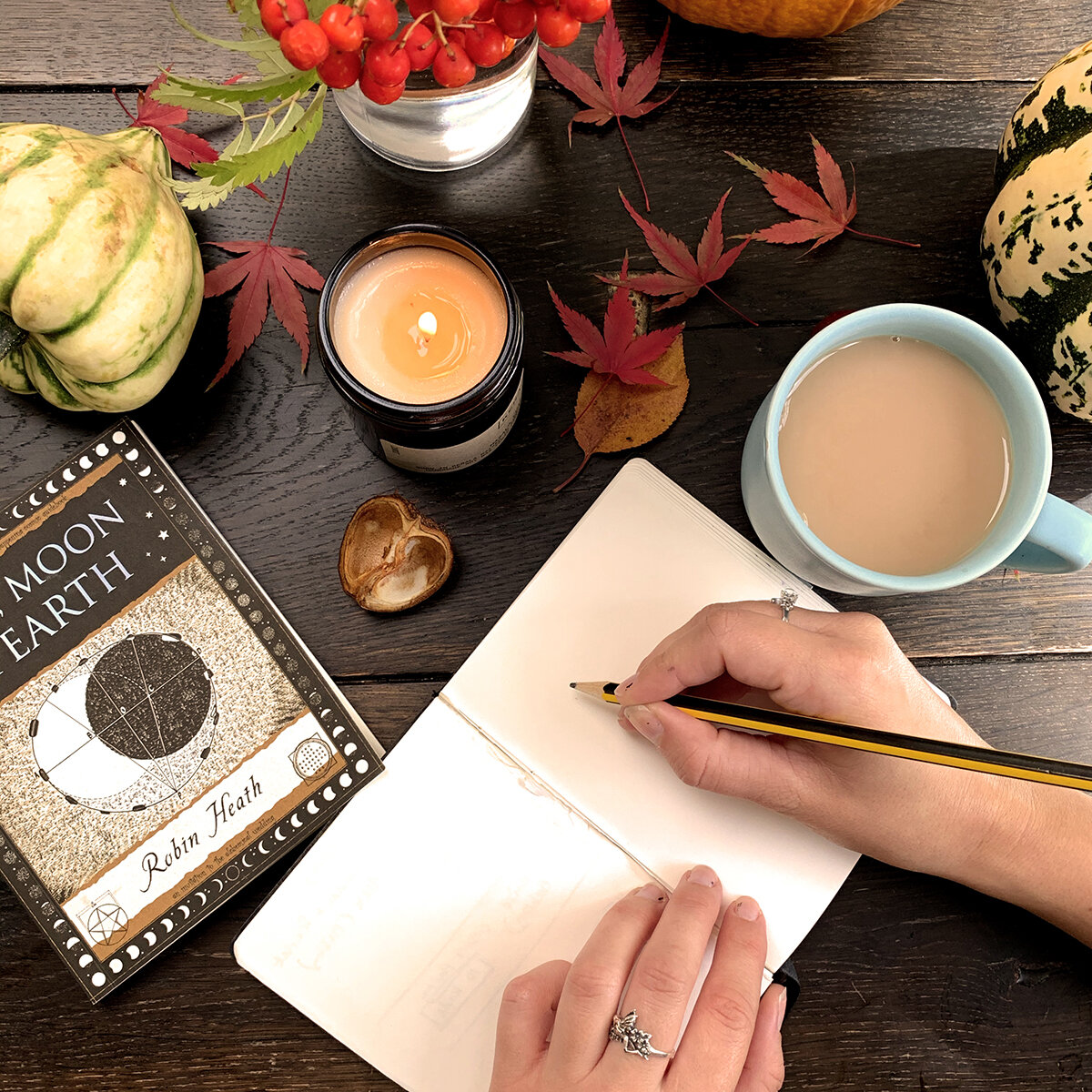Cosy Autumn Mood with Notebook leaves and cup of tea by Drawn Together Art Collective.jpg