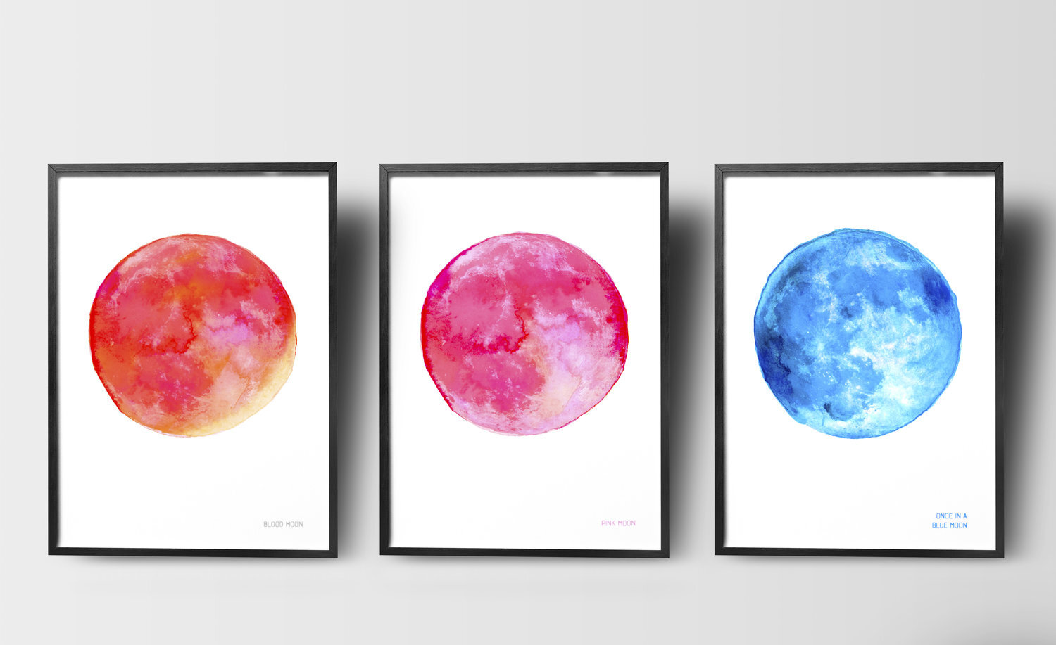 Set of 3 Moon Prints Blood Moon, Pink Moon and Blue Moon