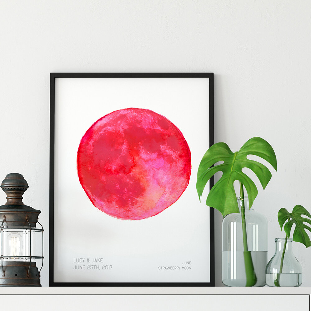 Personalised Moon Art Print with names and date