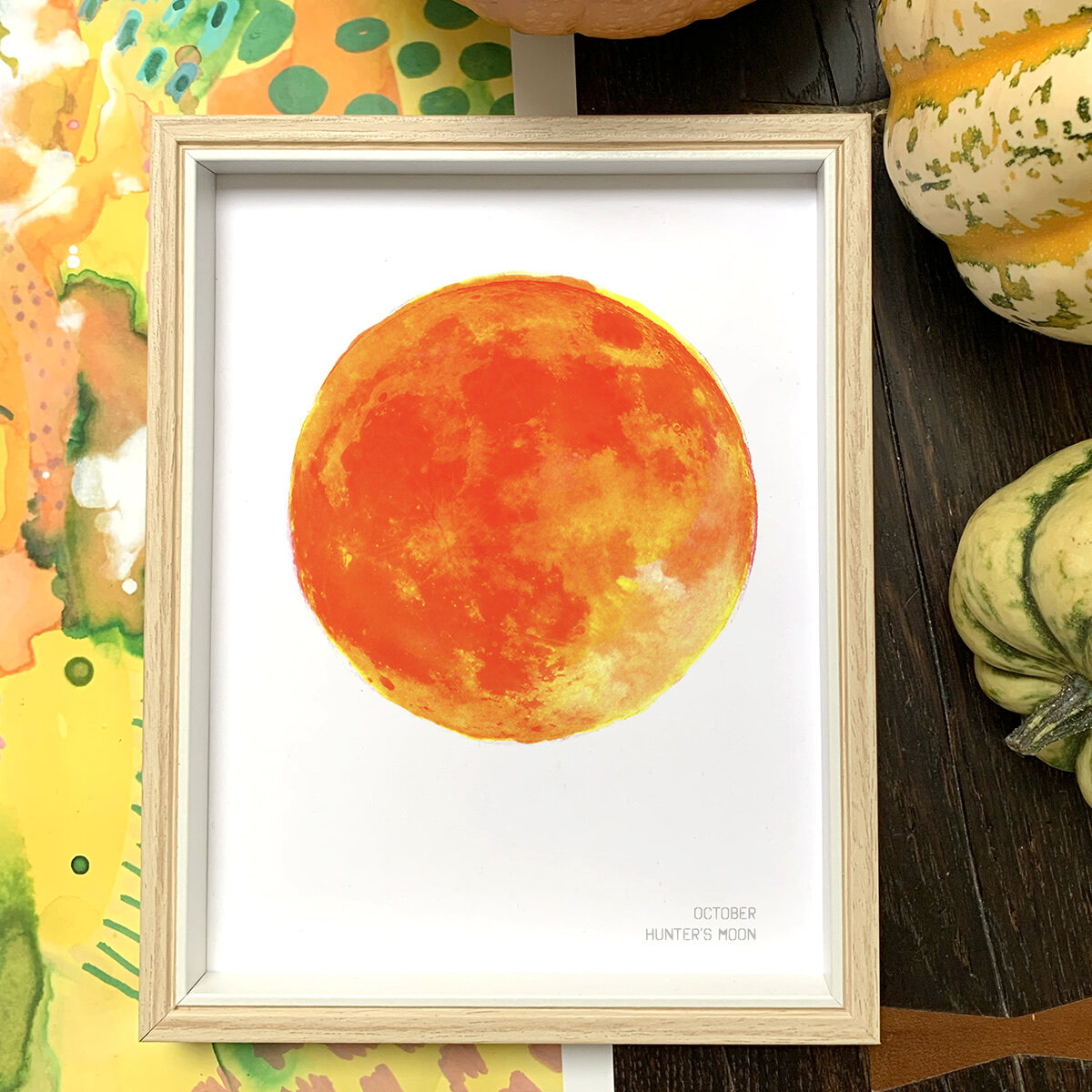 October Hunter's Moon Art Print by Drawn Together Art Collective