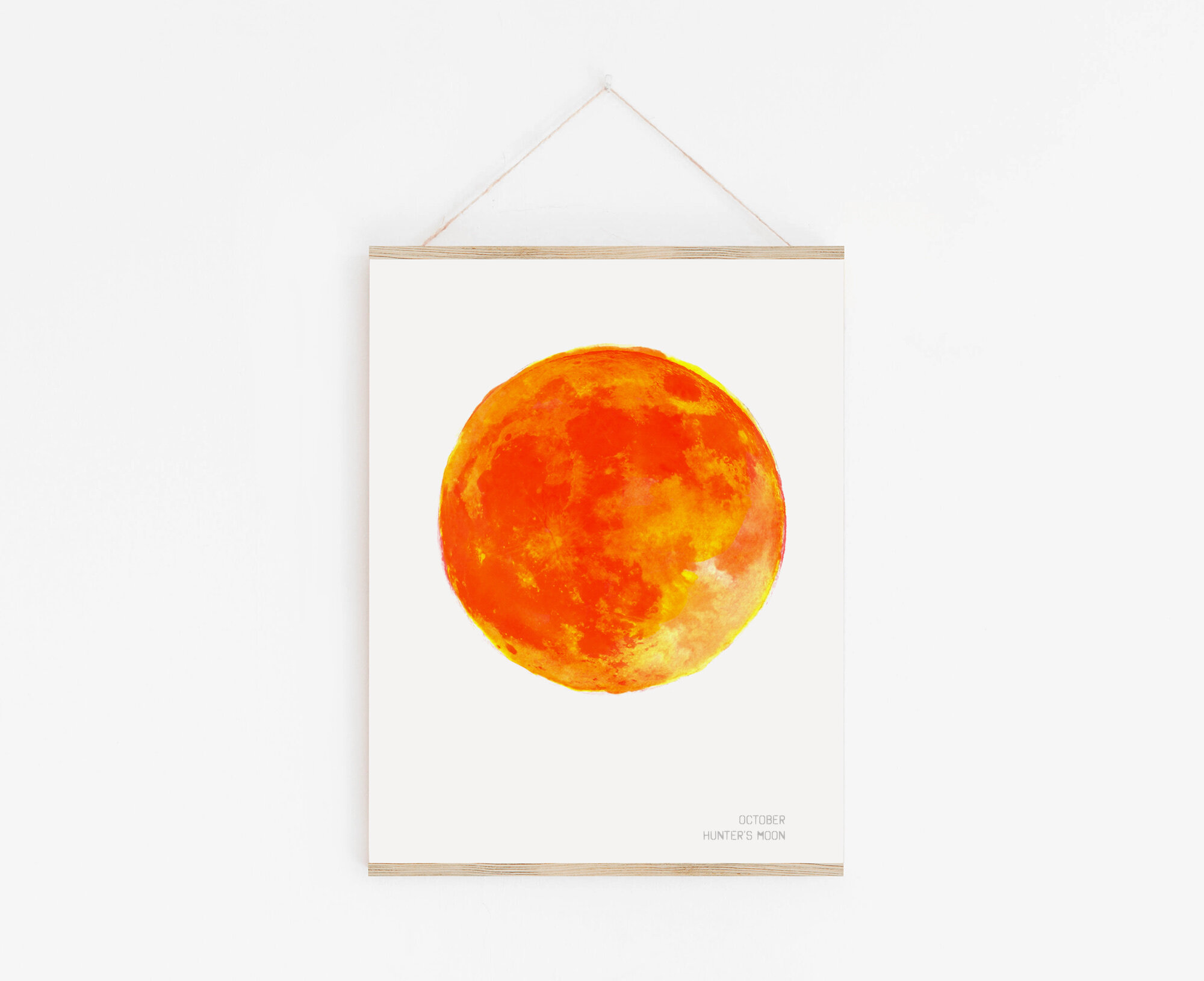 Hunter's Moon Art Print with Print Hanger by Drawn Together Art