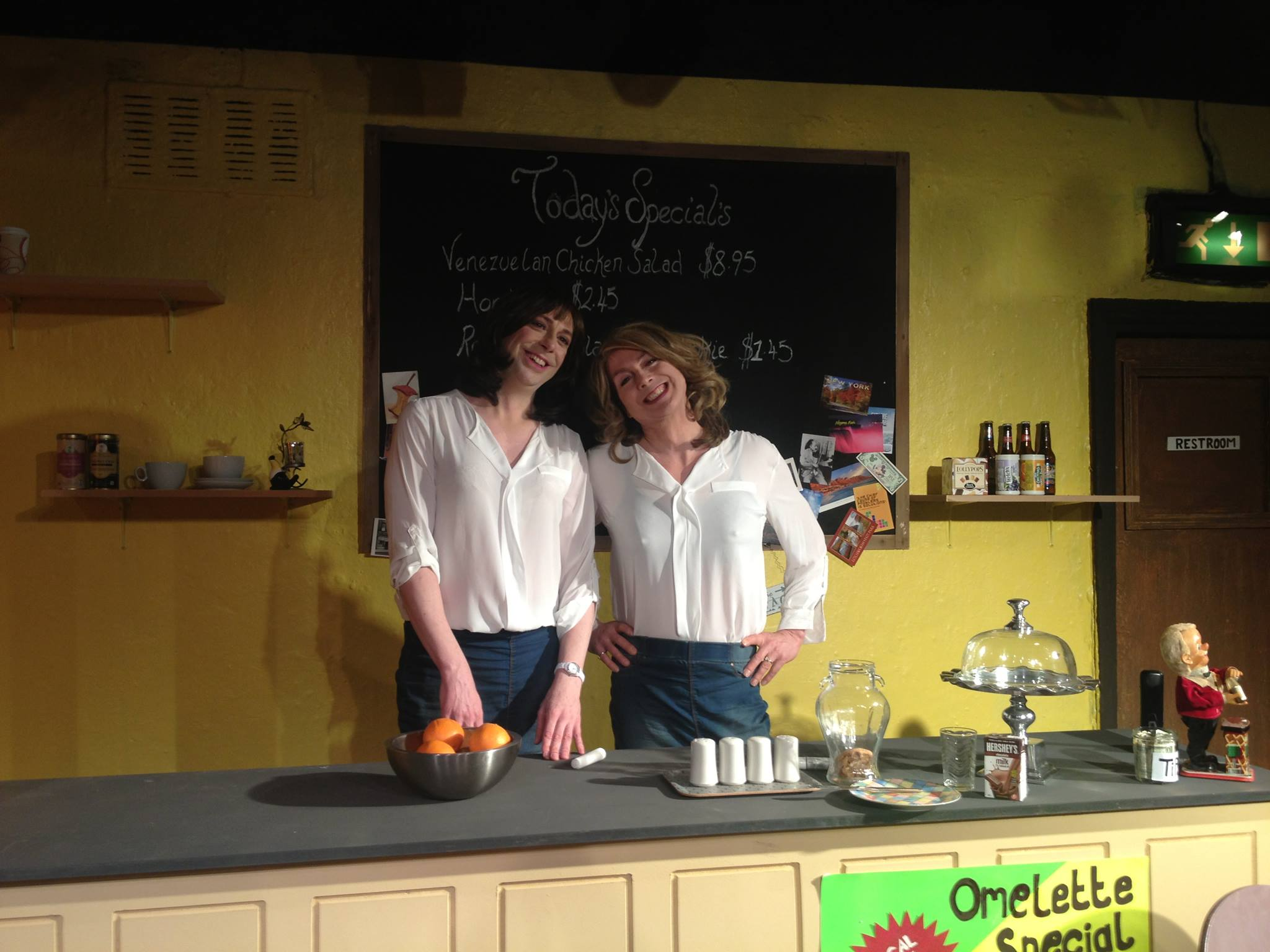 Actor Graham Elwell and the real Rachael's Jones on the set of Rachael's Cafe.