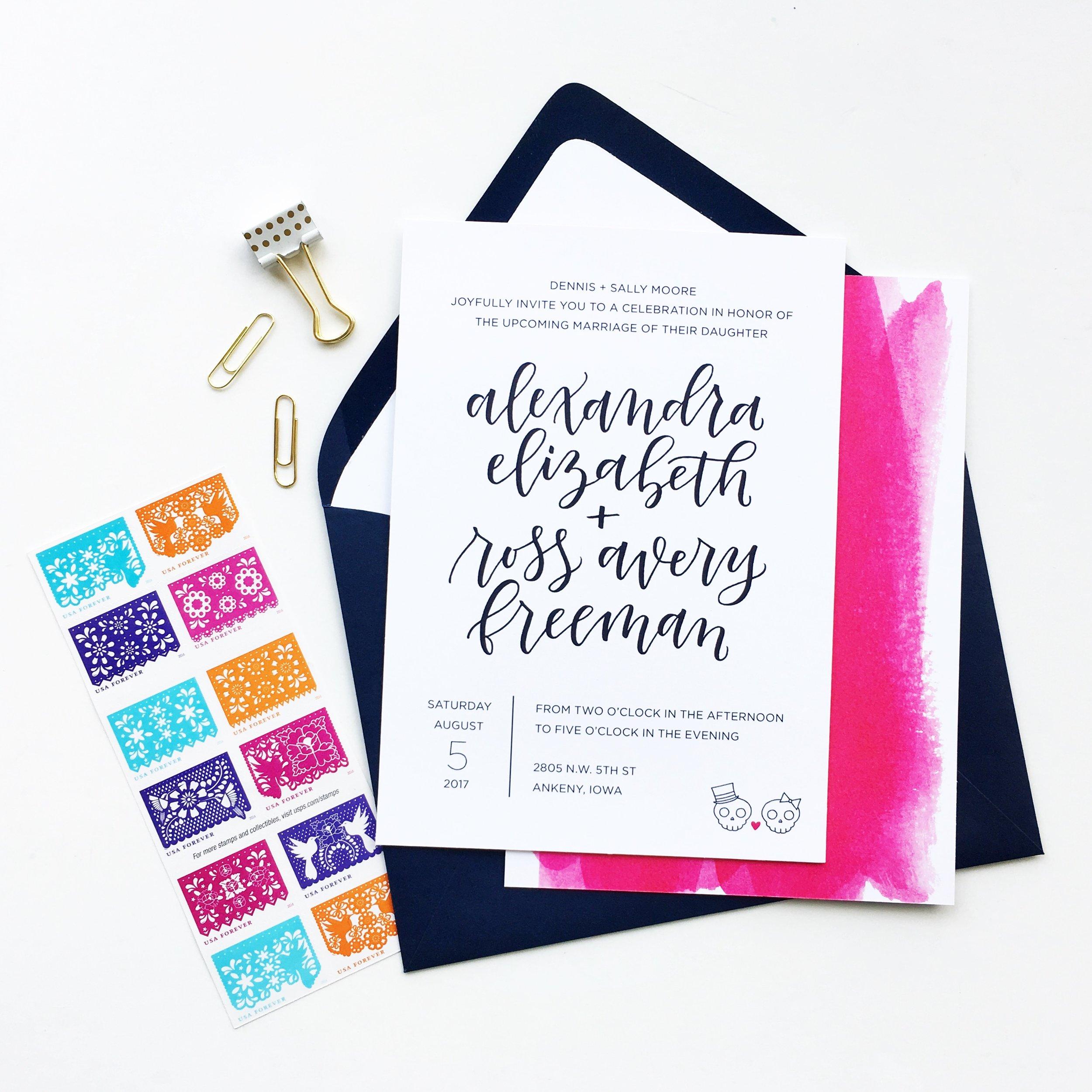Custom Hand Lettered Wedding Suite | alexandra em. lettering + design