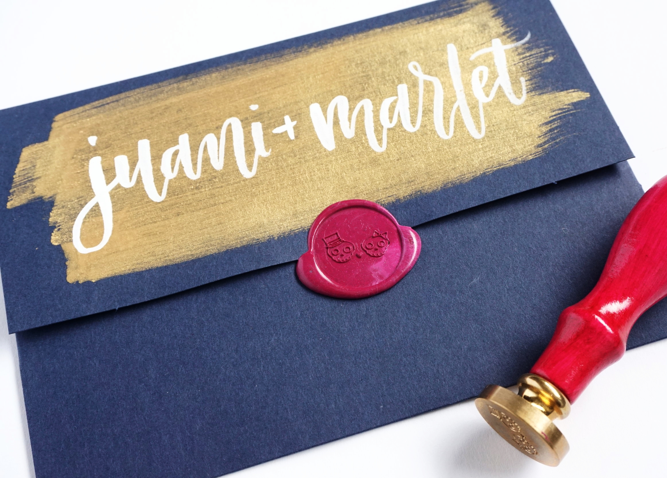 Custom Hand Lettered Wedding Inner Envelope + Custom Wax Seal | alexandra em. lettering + design