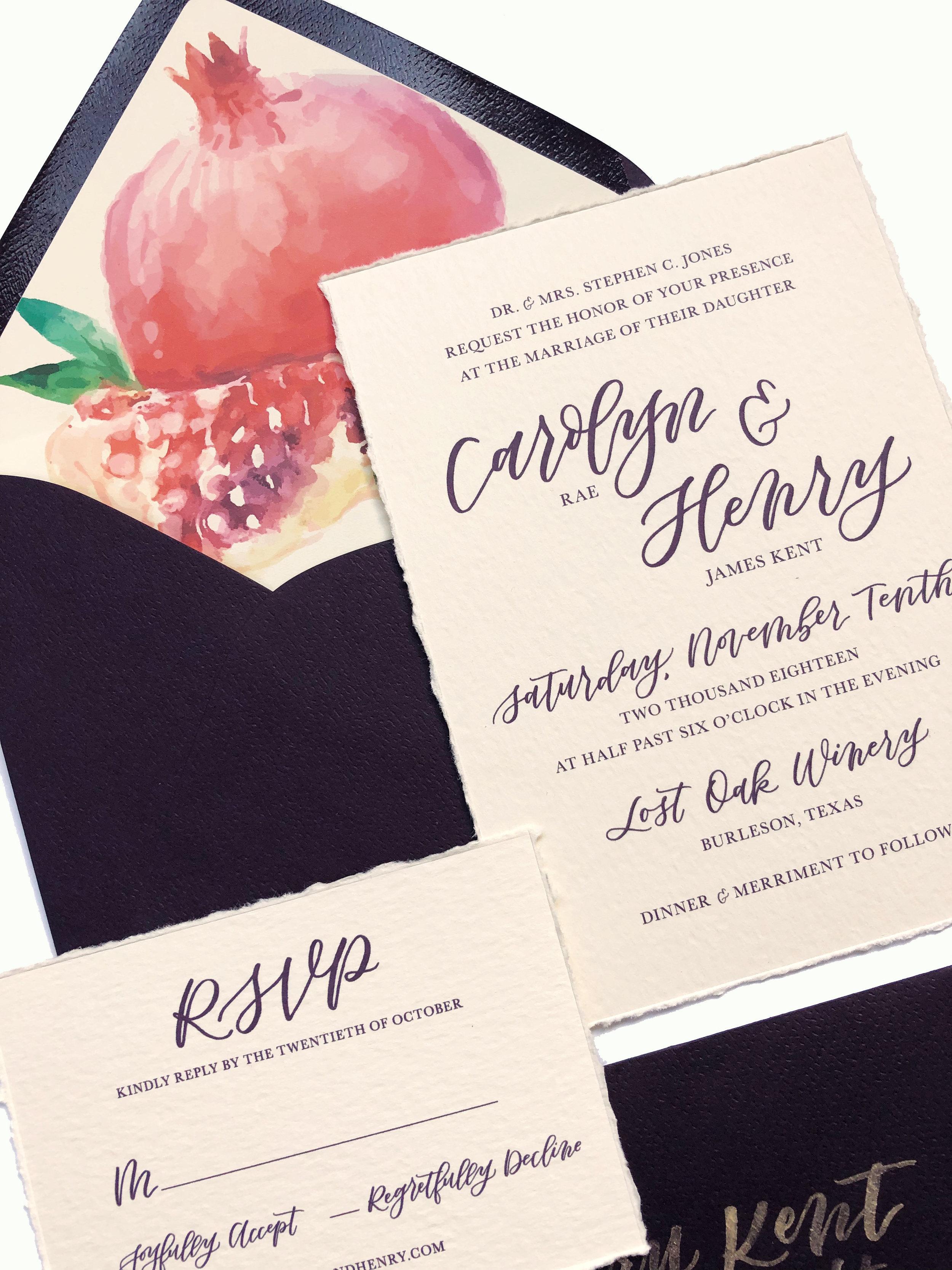 Custom Hand Lettered Invitation Suite with Custom Envelope Liner | alexandra em. lettering + design