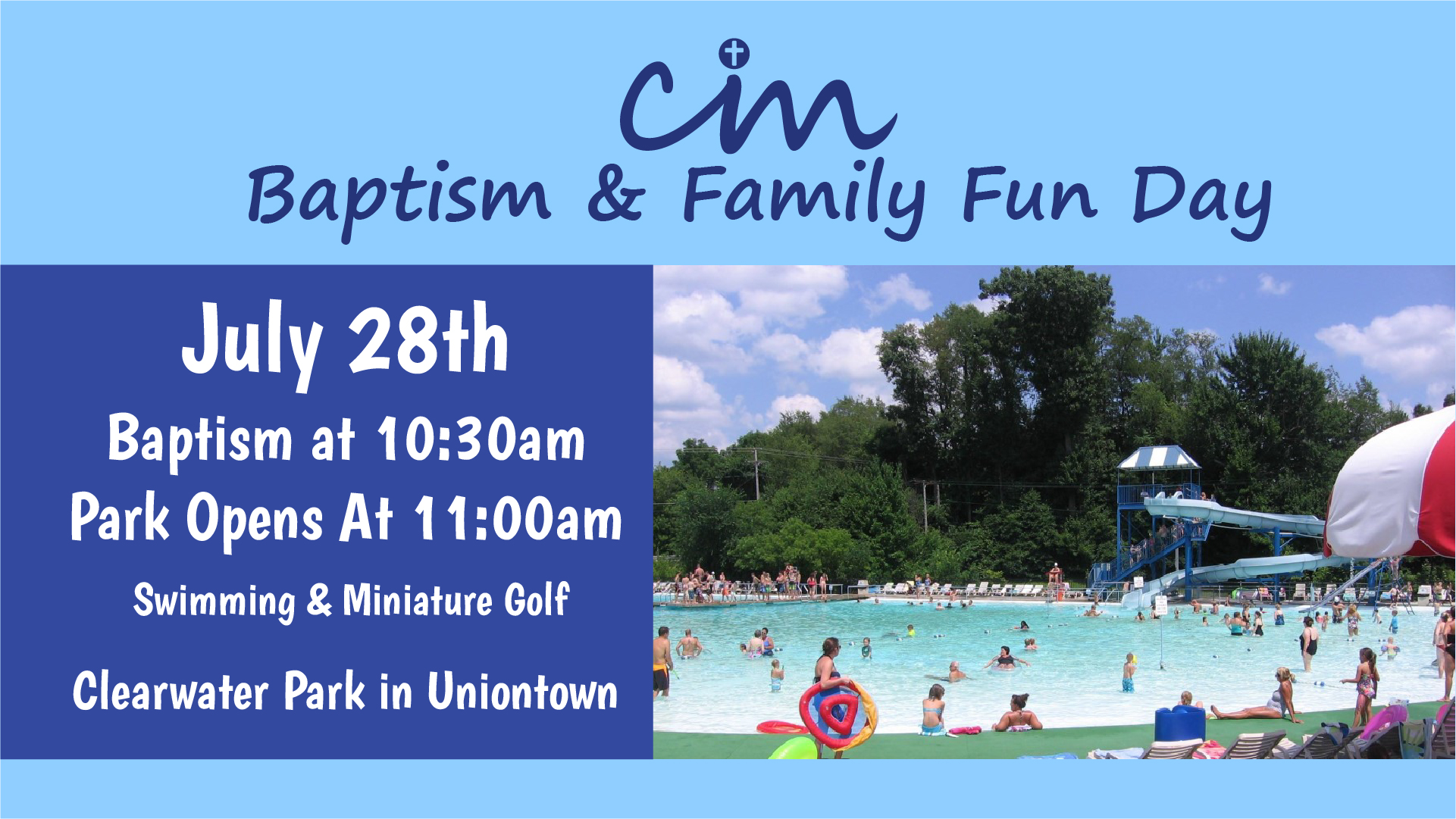 To be admitted to the park for swimming and mini-golf, please pick up a postcard pass from the church office or your Adult Sunday school teacher. A postcard will be needed for each person's entry into the park. Be sure to write your name, address and phone number on the back of the post card before turning it in for entry to the park. This will help our office update any address or phone number changes for attendees.