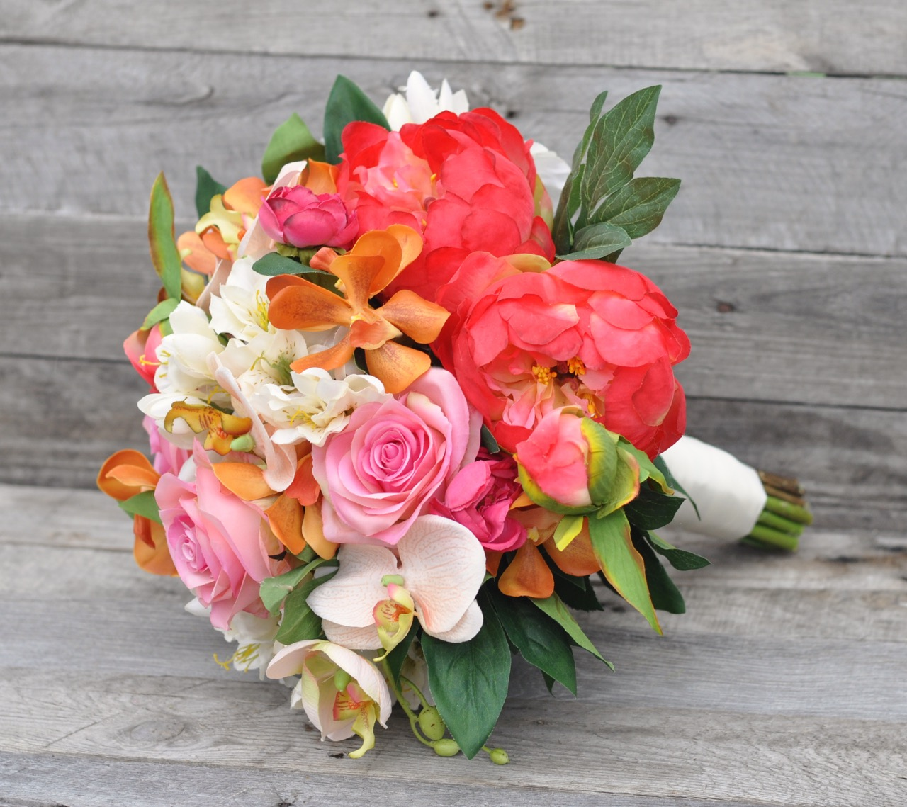 Tropical Coral Peony and Orange Orchid bouquet - 1.jpg