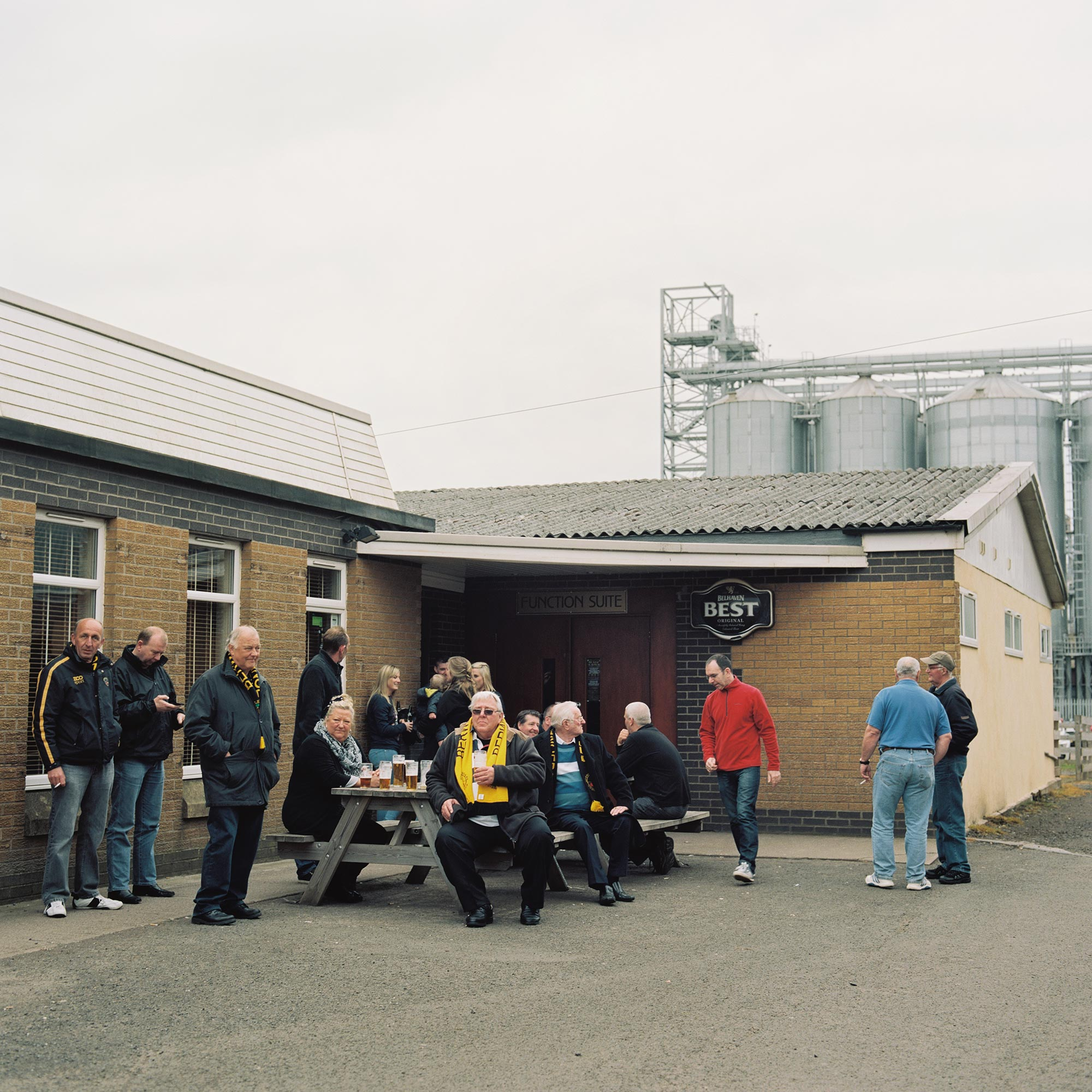 Berwick Rangers supporters wait to see their team play Peterhead in a Scottish League Two match at the Shielfield Park stadium