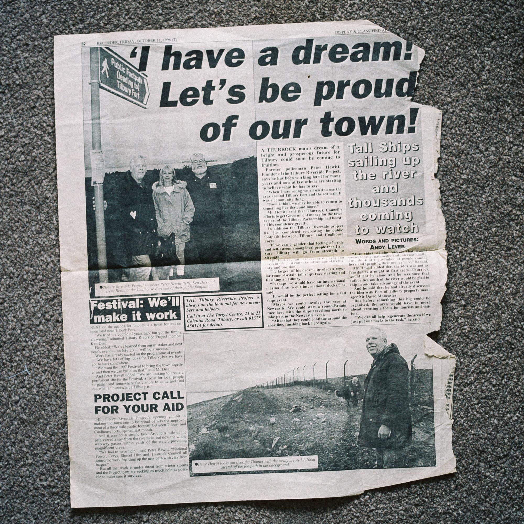 A newspaper cutting featuring Peter Hewitt MBE