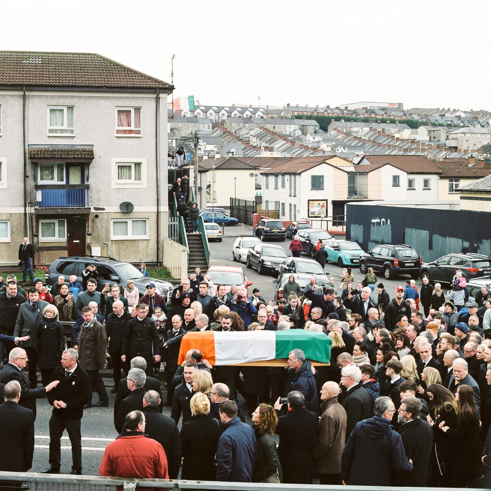 Martin McGuinness' coffin is carried through the Bogside, Derry.