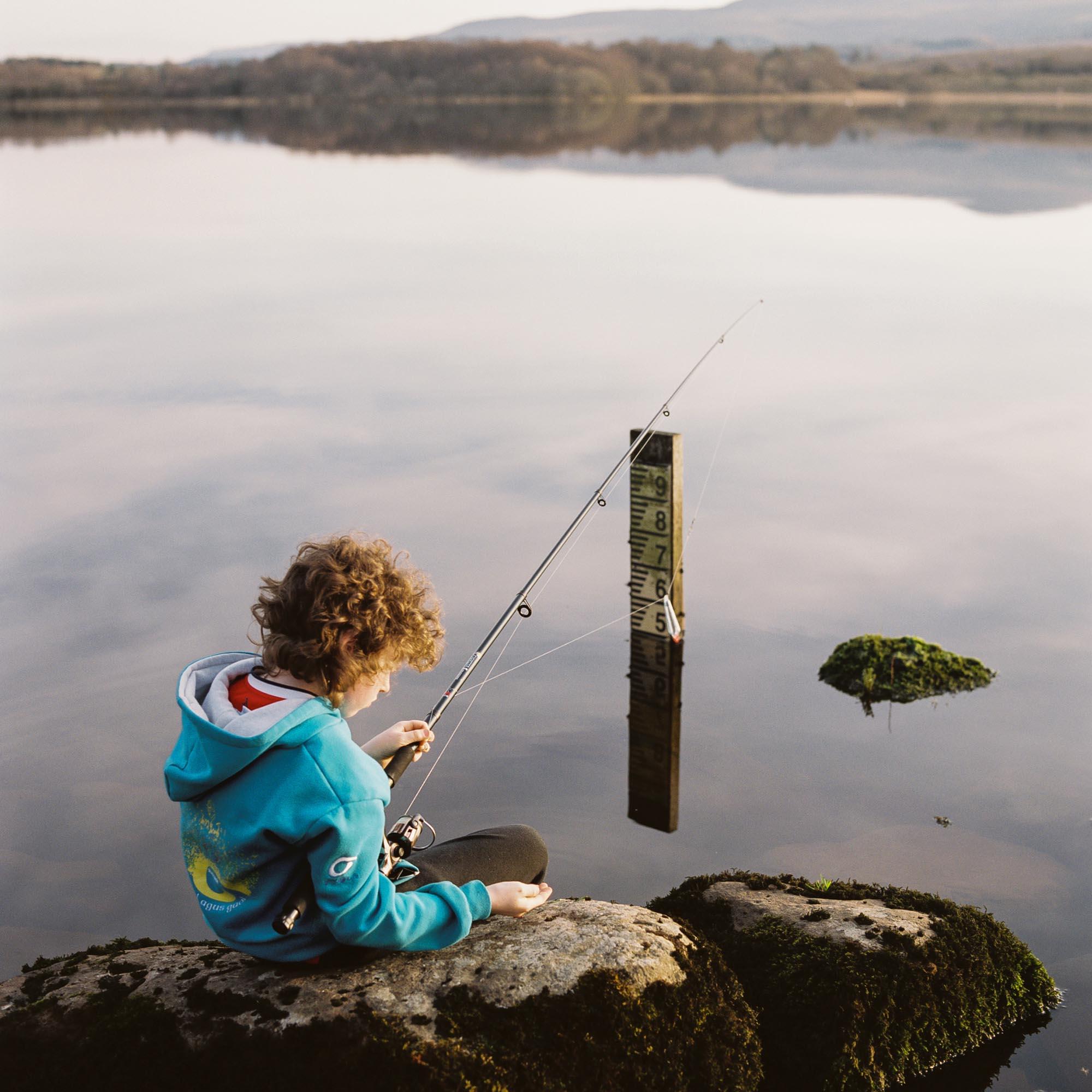 Liam Leonard fishes in Lattone Lough