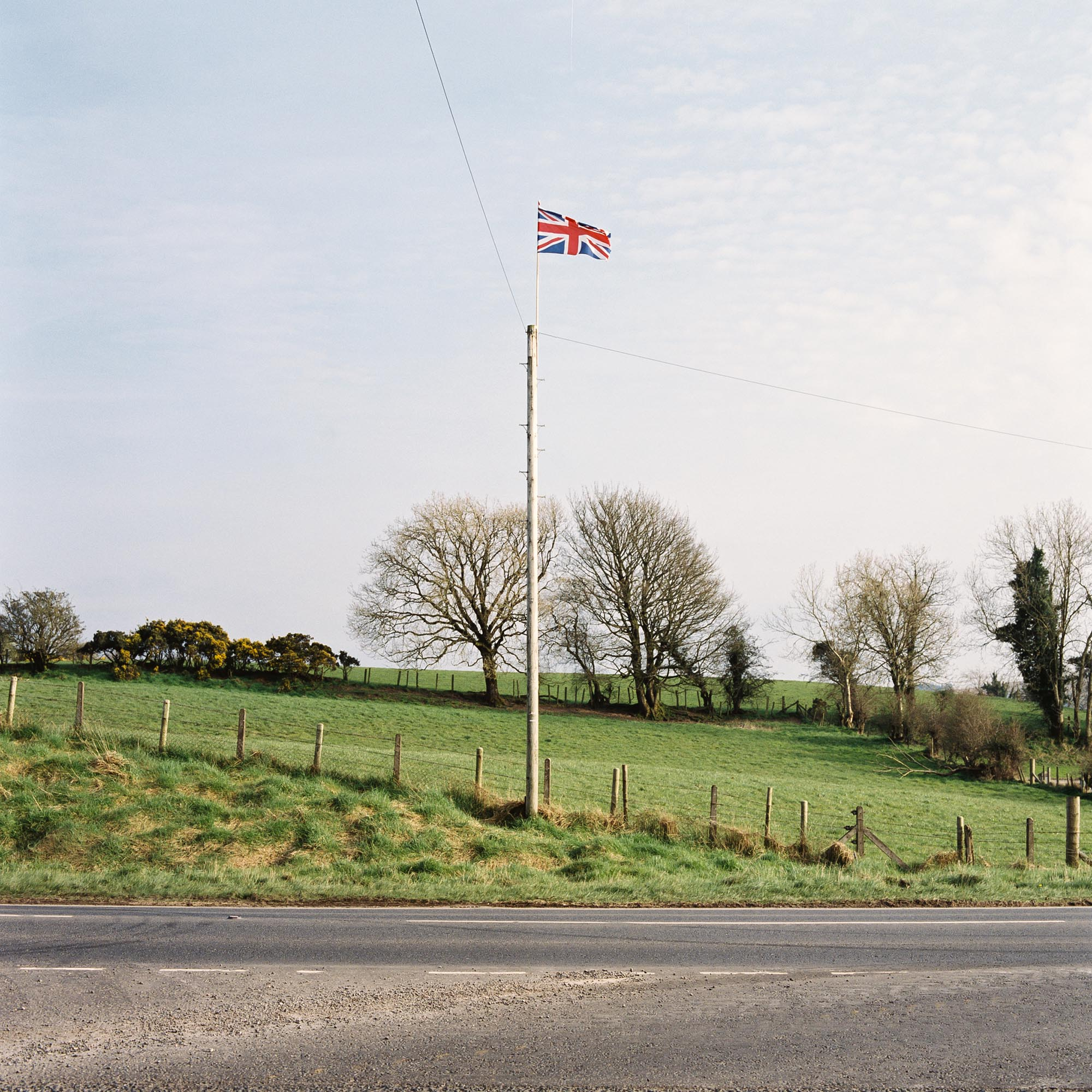 A Union flag is seen flying on Ballagh Road between Clogher and Fivemiletown