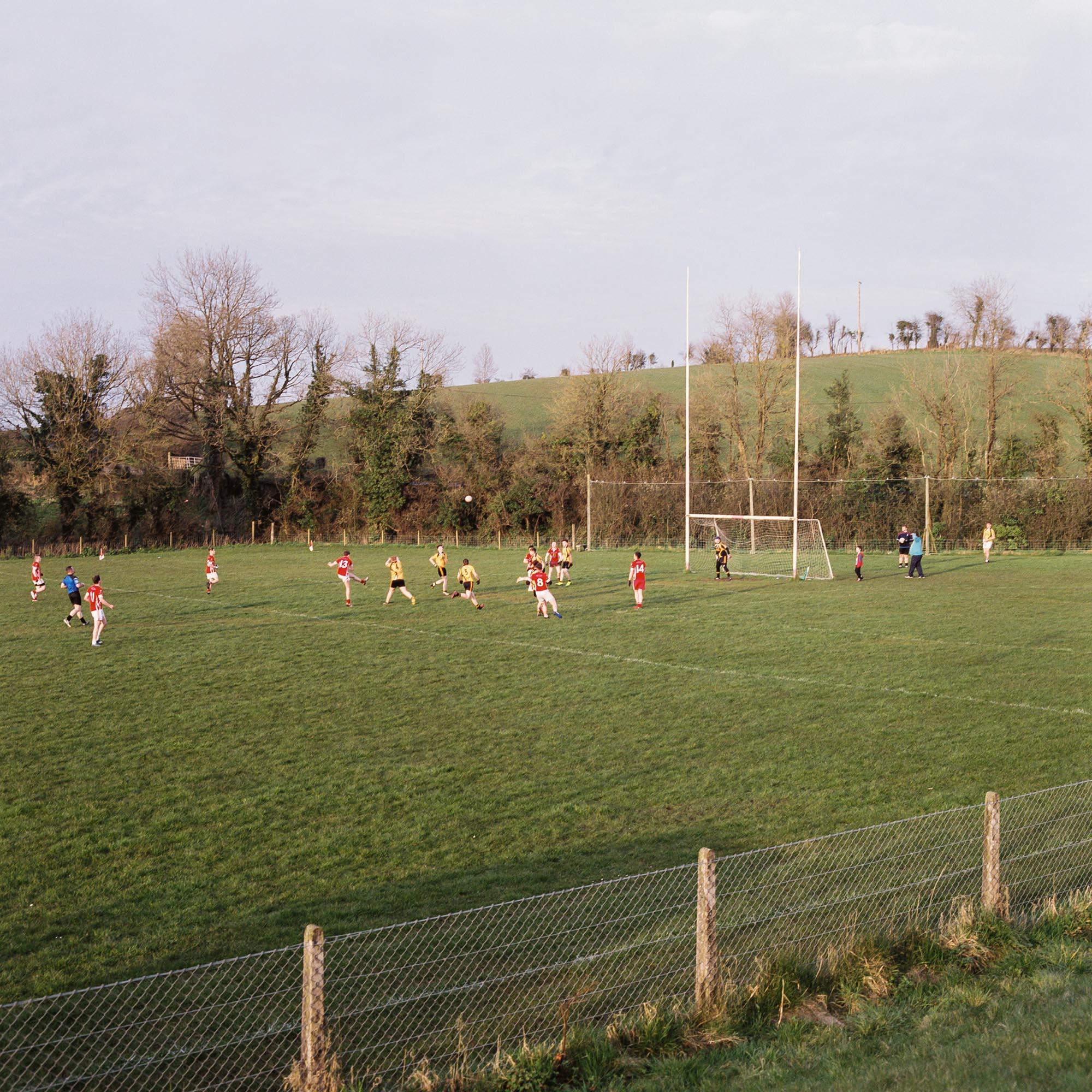 Newtownbutler play Gaelic football against Erne Gaels Belleek in a Minor league game