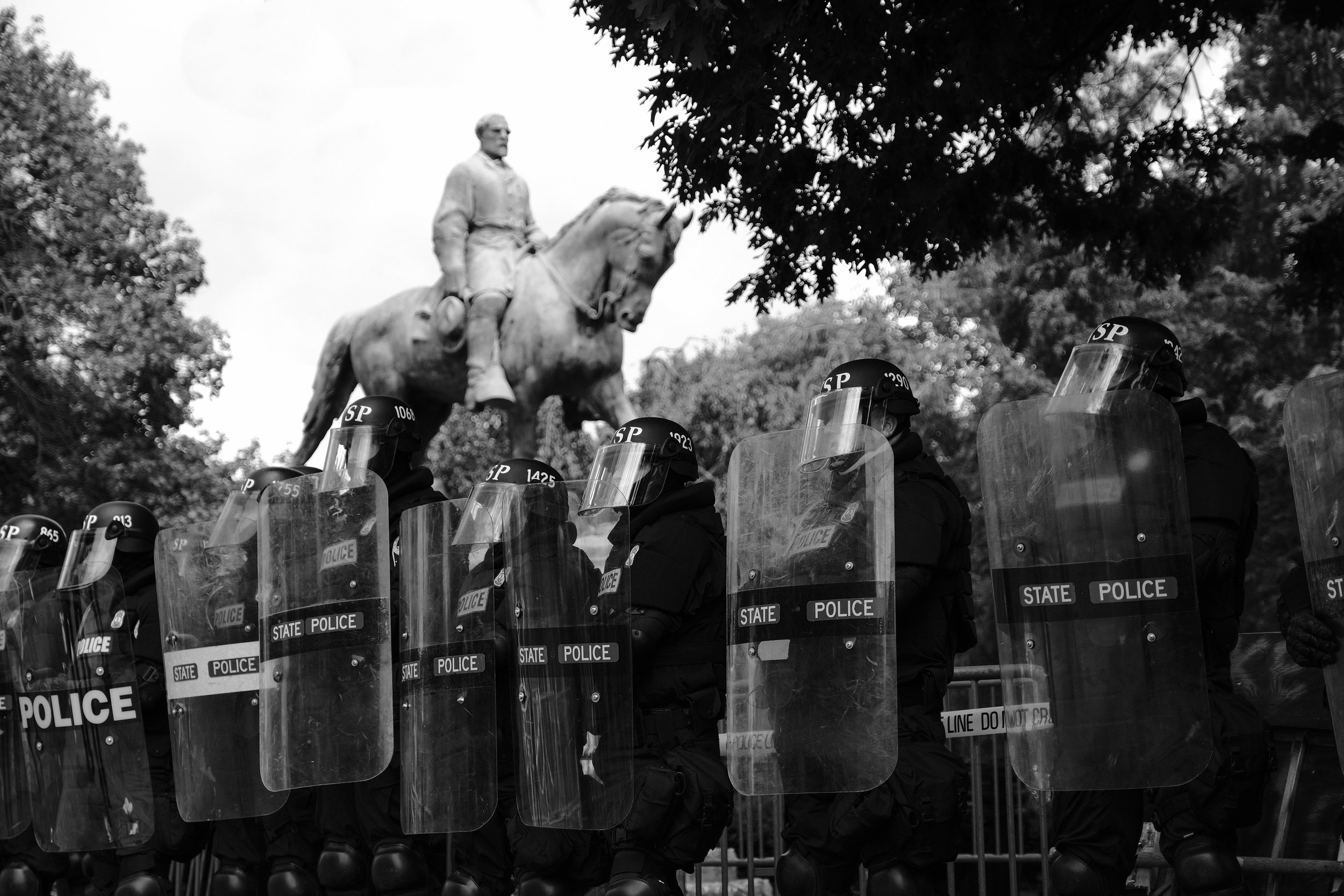 At approximately 11:30 AM, before the Unite the Right rally was even scheduled to begin, police declared everyone present an unlawful assembly and begin to push both the white supremacists and protesters away from Emancipation Park. Conflicting and contradictory orders were issued as police attempted to clear the street of people, and even many of the officers didn't appear to know where they should be or where they should go. Despite all of the melees and the use of gas and mace, there were no attempts by police to intervene prior to this.