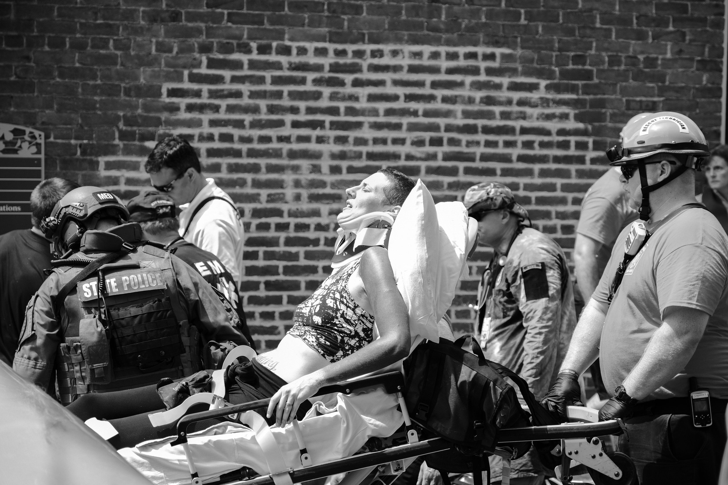 Eventually, Charlottesville EMTs arrived and began to move the injured and dead from the streets.