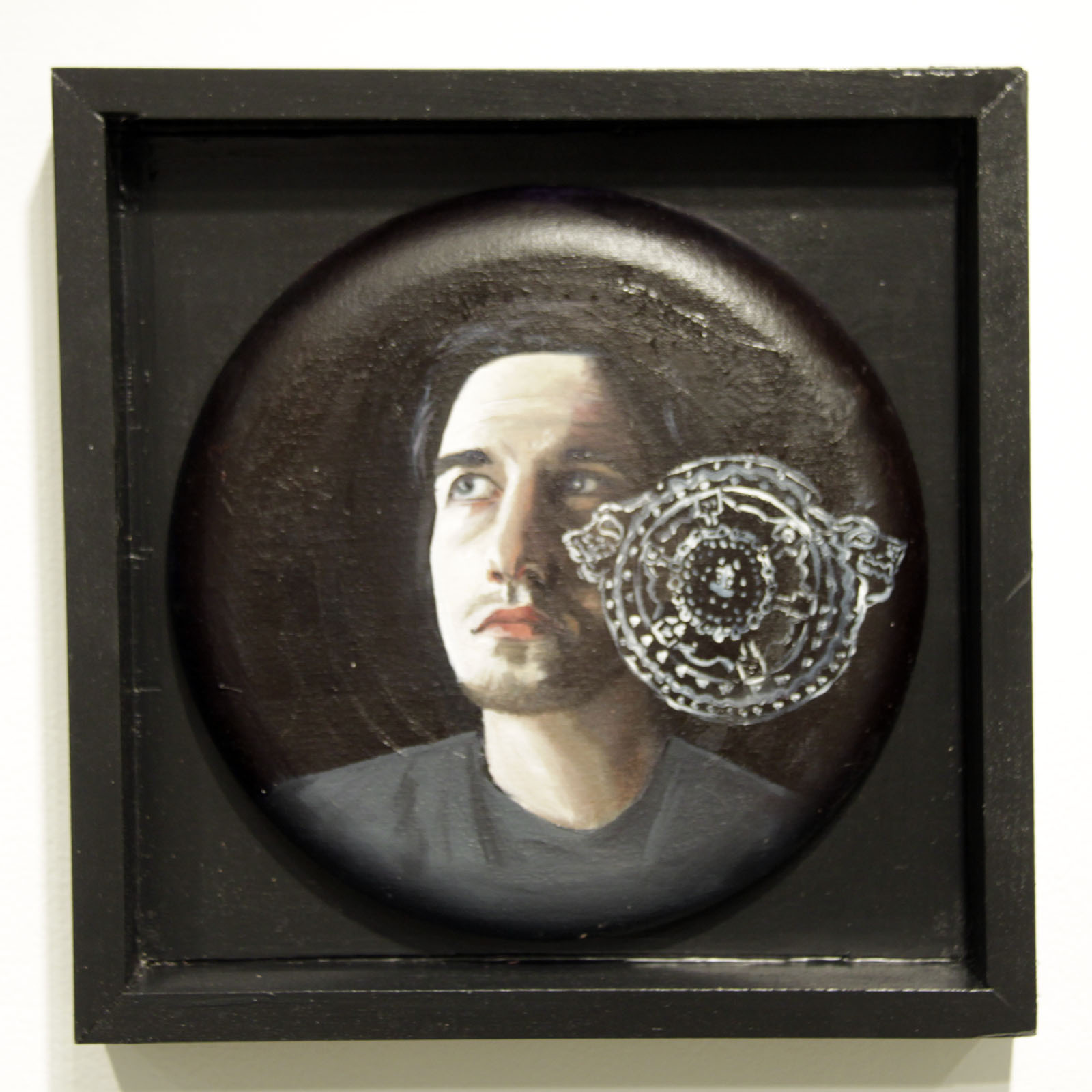 """...and darkness was upon the face of the deep...""   12 inches in diameter / oil on cotton"