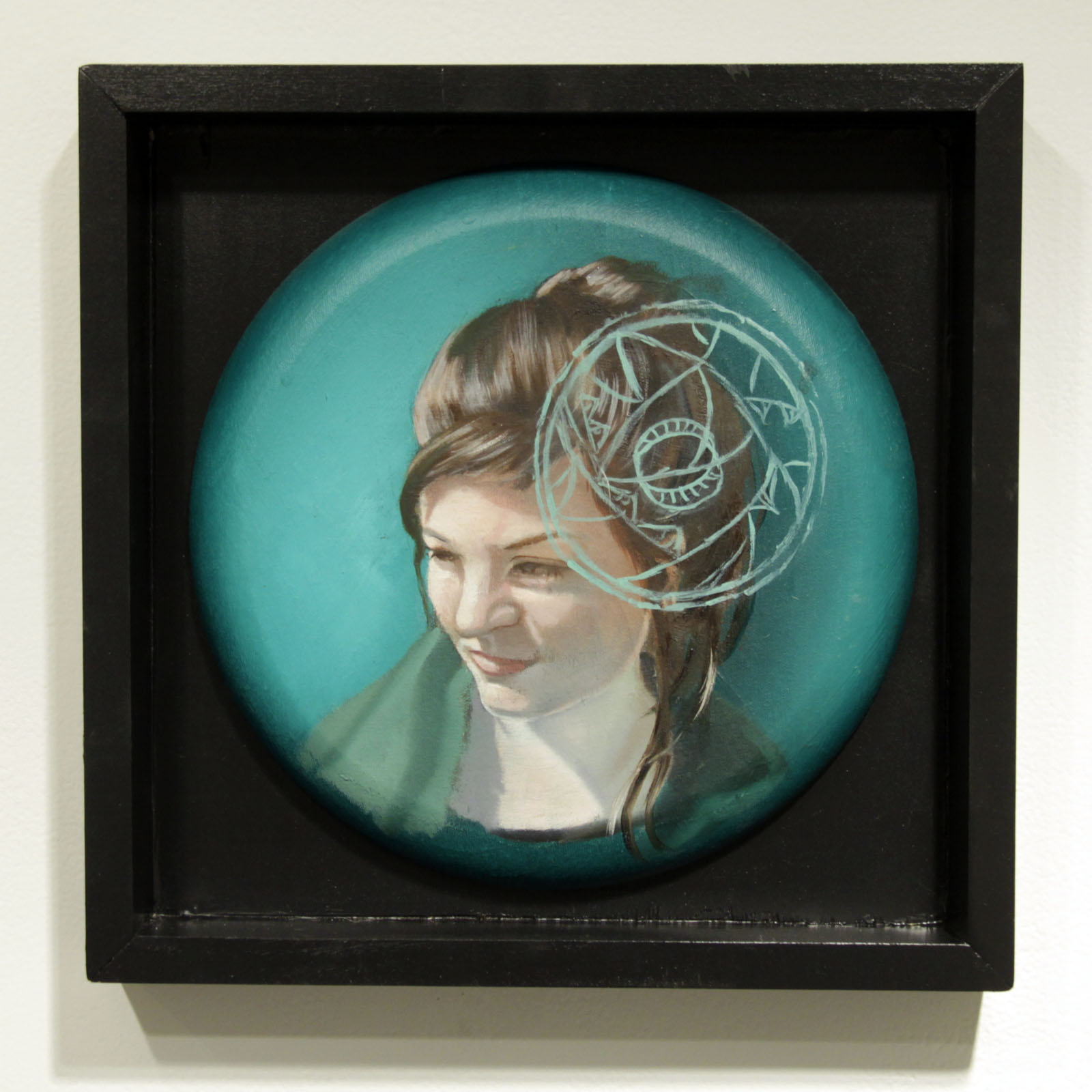 """...to the timeless balance of rising and falling energies...""   12 inches in diameter / oil on cotton"