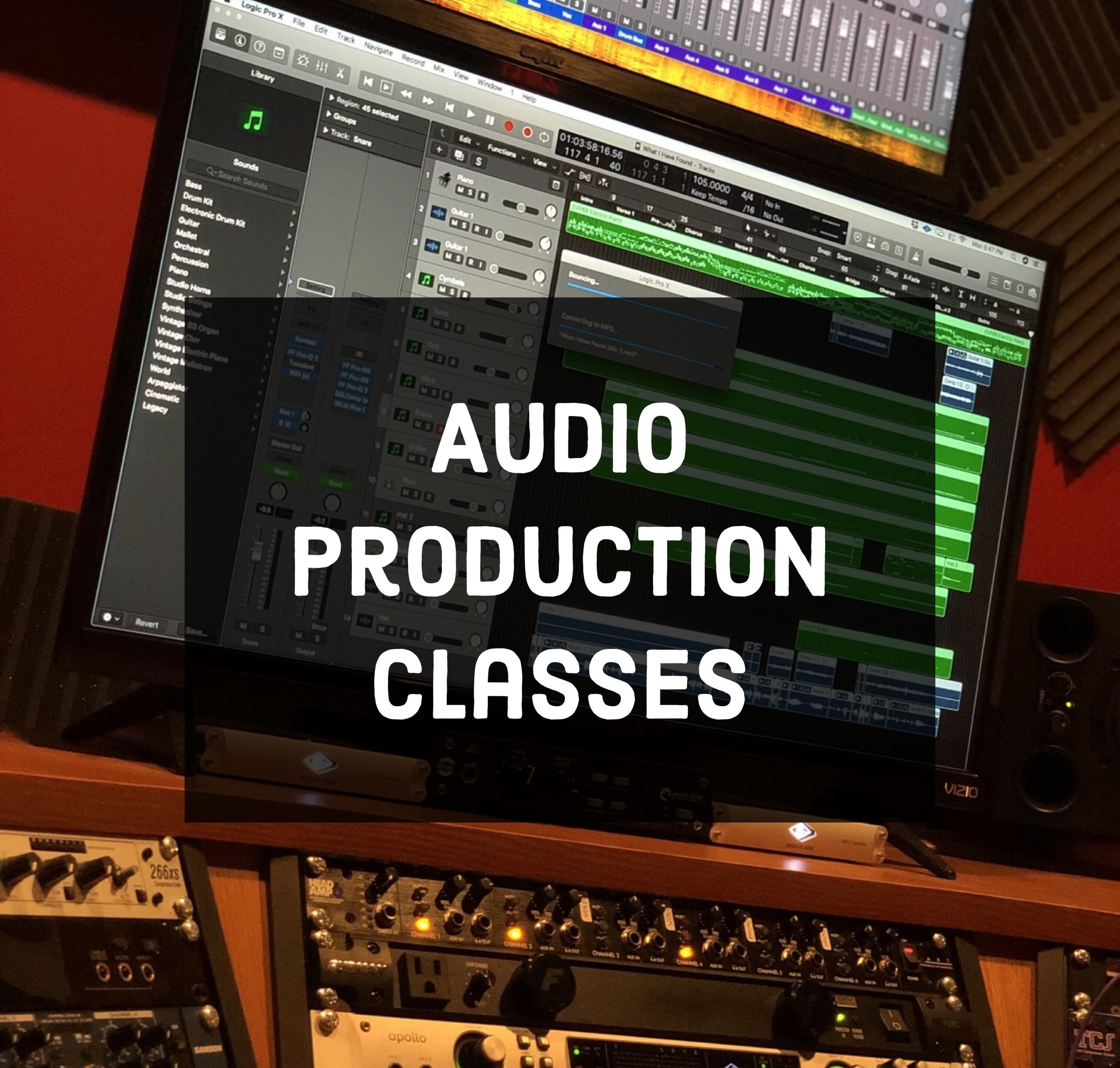 - Starting in 2019, Studio 117 will be offering audio production classes to the public. We have realized that in Central PA, there aren't many opportunities for technical training regarding Audio Production, unless you plan to pay multiple thousands of dollars for classes at local colleges. We aim to bridge the gap between the basement and the start of a successful career in audio production without the need for general education credits. At Studio 117, we have the industry standard equipment you need to jump right into the career without having to purchase thousands in equipment. It's a safe bet for anyone who is interested in audio production but is still unsure of their career path. Don't start your career in debt!Each course will be 10 classes (1-2 hours each) with 10 students max, and we are currently looking into funding for the possibility of offering scholarships to qualified applicants. If you would like to stay in the loop in the latest developments in our classes and when they will become available, please send us an email using the email button at the bottom of the page.Starting at $75/Class. Bulk discounts available soon!