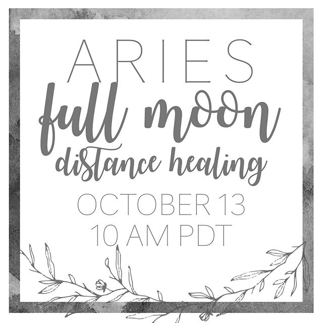 "GROUP HEALING ARIES FULL MOON  The full moon will be exact on Sunday, October 13th, at 2:07pm pdt, at 20º14' Aries. The group distance healing will take place on Saturday morning, the 13th, at 10 am pdt.  My group healing sessions are a combination of reiki, magic, and emotion code healing. The session will be an hour long and comes with a pre-session reiki info email about an hour before the session begins and it comes with a group tarot reading which is emailed to the participants a week after the full moon. And these sessions now come with personal mini card readings.  The session is $20 via PayPal, link in my bio (or venmo, just dm me). I also request that you either email or dm me your personal intentions for the healing. If you would like to know more about how the sessions work, read below.  If you're interested and are unfamiliar with Reiki, it is a Japanese healing technique that channels life force energy to the recipient and allow cells to heal, energy to be transmuted and transformed, emotions and trauma to be released, karmic wounds to be accepted and healed, etc. Basically, you name it and Reiki can help! Reiki is infinitely benevolent and wise and does no harm. It can only have a positive impact, and it has a tendency to go exactly where it needs to go and heal what it needs to heal.  If you are interested and unfamiliar with the Emotion Code, it's a healing modality that uses the bladder meridian along the spine and muscle testing to identify, find, and release trapped emotions in the body and in the subconscious.  It has been often asked, how does the session work? Is it ""live""?! The answer is no and yes. Reiki works though intention. So during the session, I sit and channel the energy to all of the recipients, but you do not see me live. You can sit in the comfort of your own home, or wherever you are, and receive the healing energy. You don't even have to be mentally present during the session; in the past, some participants have slept, others were at work, and some have been in pilates, etc. As long as you are willing to receive, the energy will go to you in whatever way you want it or need it to."