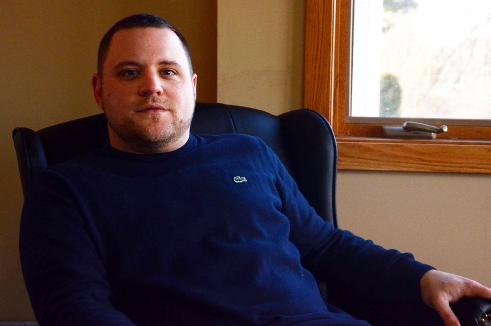 Ed, at the offices of GateHouse Recovery in Nashua, where he works. (Casey McDermott/NHPR)