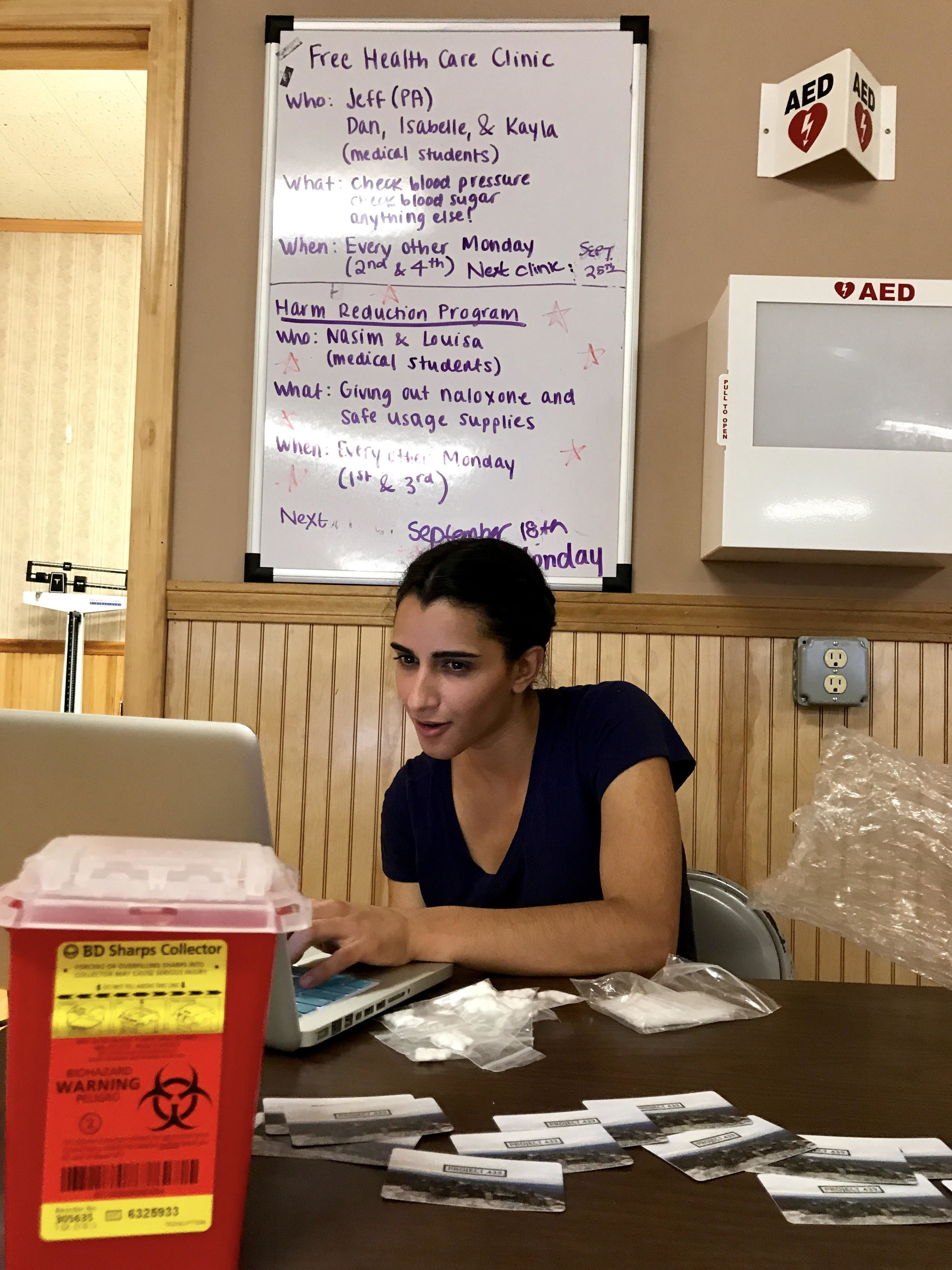 Nasim Azizgolshani, 25, tracks the supplies given out Monday during the syringe exchange hours. That day 14 people showed up.  CREDIT COURTESY OF LOUISA CHEN