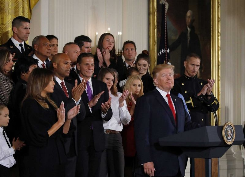 Manchester Fire Chief Dan Goonan in the top left attending President Trump's press conference on the opioid crisis at the White House.  CREDIT FILE