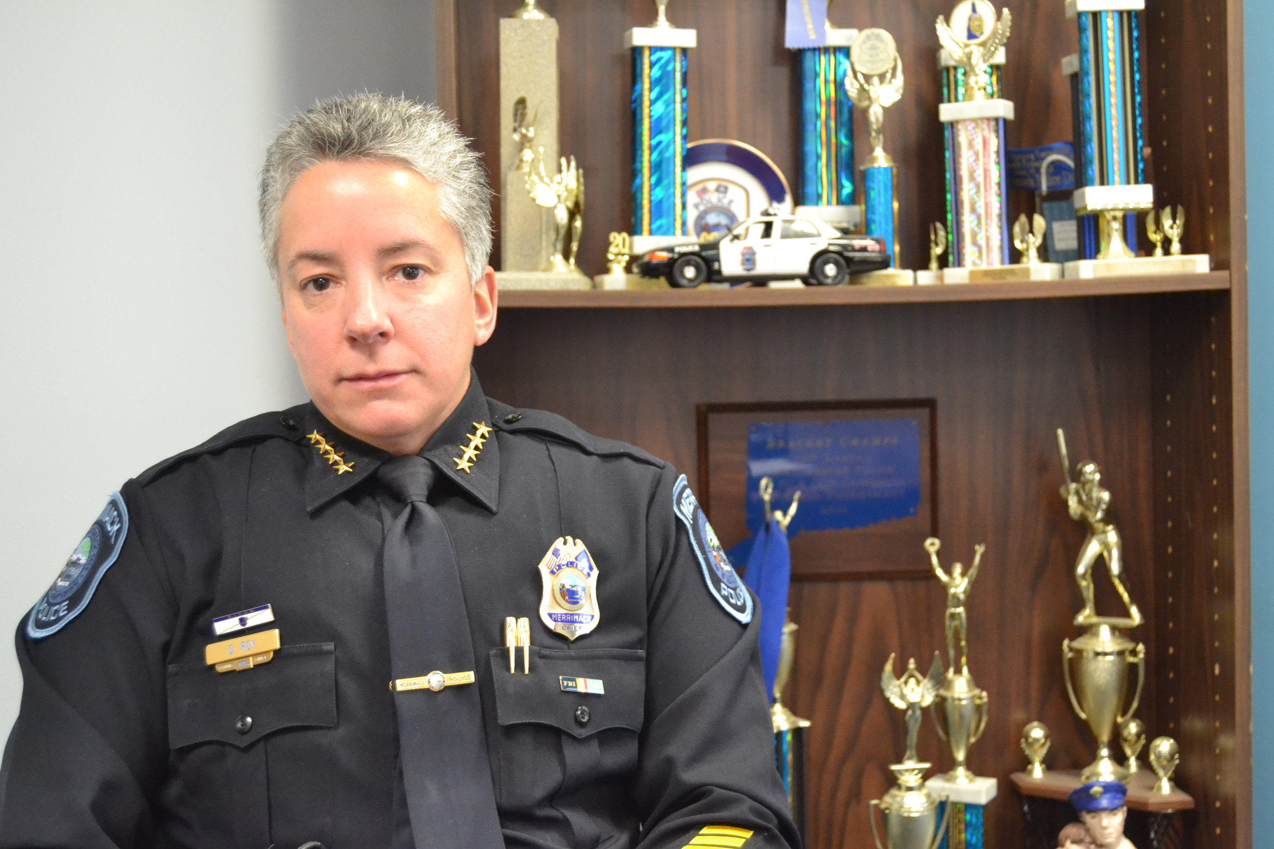 """Merrimack Police Chief Denise Roy calls the town's influx of meth """"an infestation"""" that her department plans to eradicate.  CREDIT PAIGE SUTHERLAND/NHPR"""