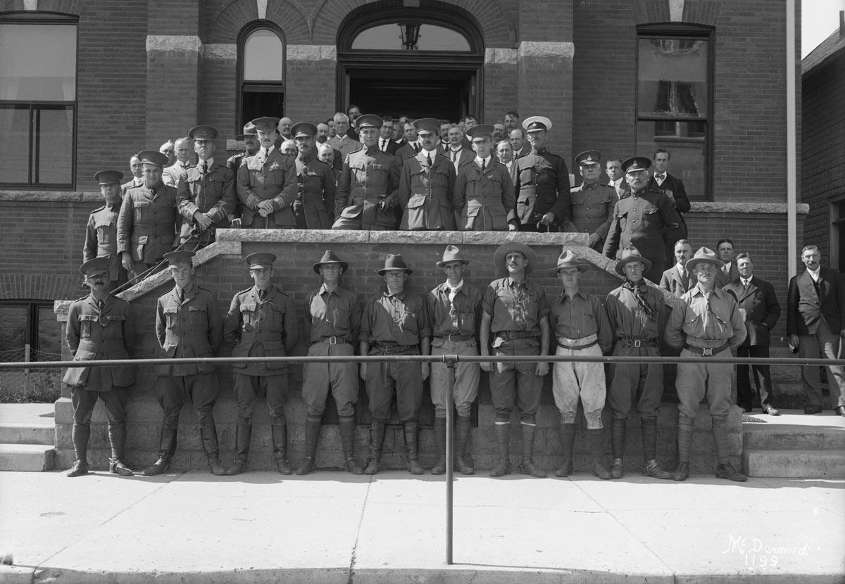 Image No:   Glenbow Archives    NC-6-1199  Title:  Officers of 101st and 19th Battalions, Edmonton, Alberta.  Date:  1914  Photographer/Illustrator:  McDermid Studio, Edmonton, Alberta