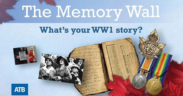 Come to #armistice100yeg event at #ableg, share a story from #WW1 or the 2018 commemoration and keep their memory alive!  Thank you, @atbfinancial for your support