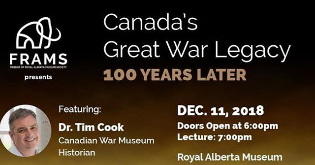 If you're interested in #WW1 history or want to learn more, Dr. Tim Cook would be the man. One of Canada's best historians in #yeg on Dec. 11. Tix only $20 available on Eventbrite.ca @yegheritage #weremember #yeghistory #armistice100yeg #yegevents #yegdt #yegarts https://www.eventbrite.ca/e/canadas-great-war-legacy-100-years-later-tickets-52095312482?aff=eac2