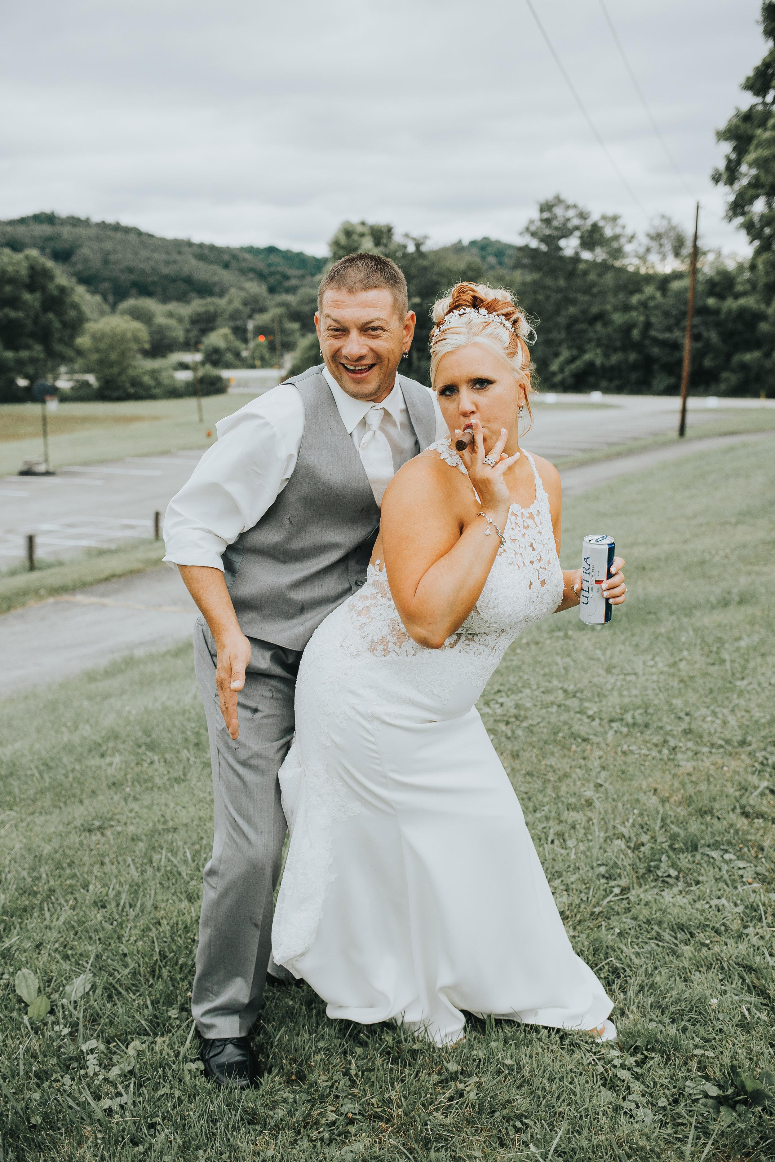 rustic summer glamour western Pennsylvania Ligonier wedding portrait
