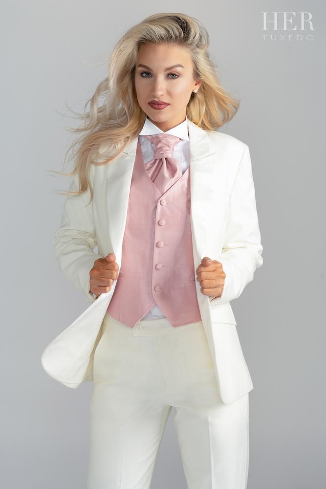 HER Tuxedo -  Classic Ivory Short Peak Lapel Tuxedo Suit