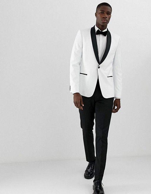 ASOS - DESIGN  skinny tuxedo suit in monochrome