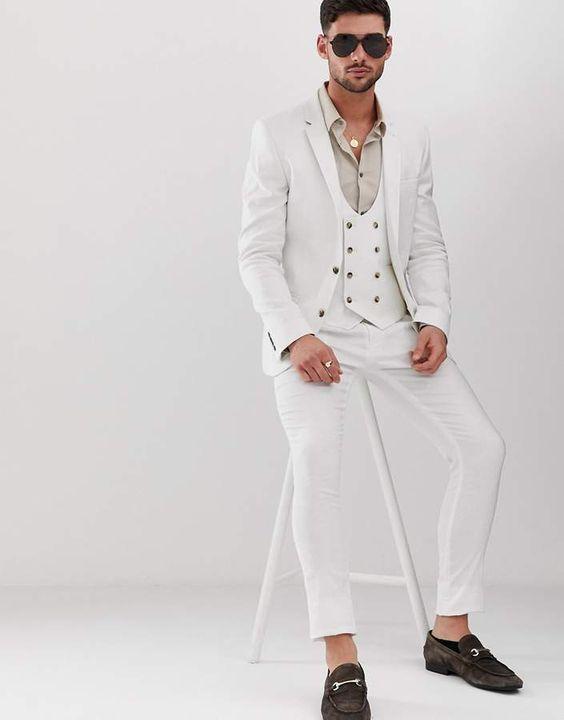 ASOS - DESIGN  super skinny suit jacket in white linen
