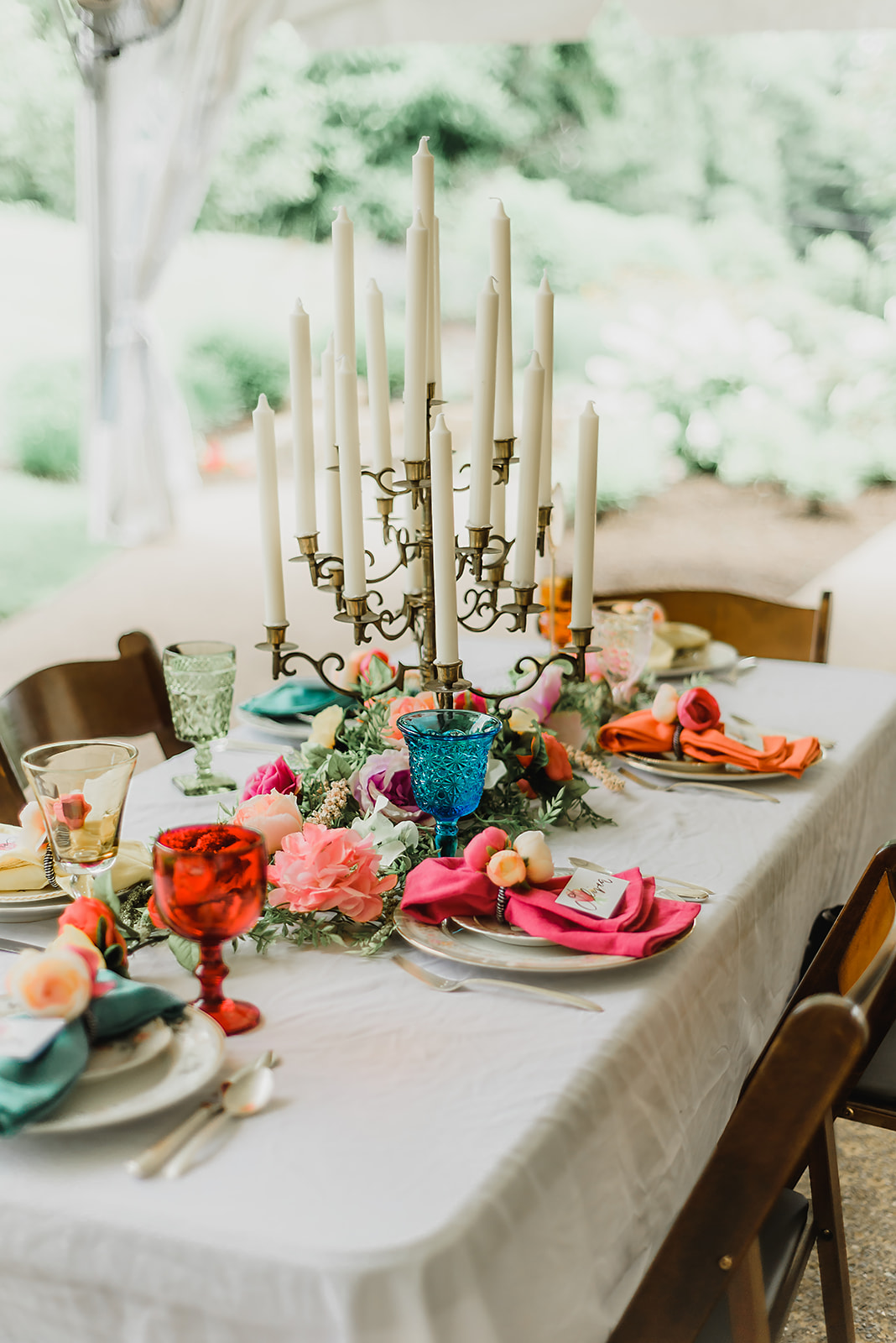 bright colors Pittsburgh Botanic Garden summer wedding reception table