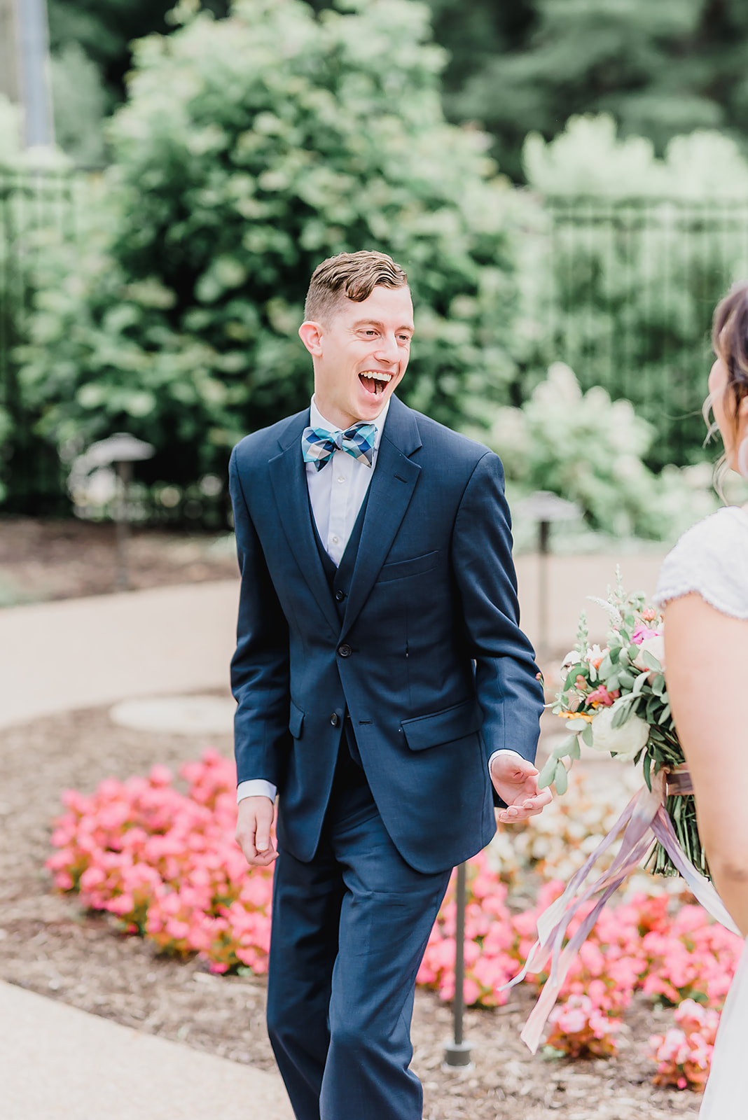 pittsburgh_botanic_gardens_summer_colors_wedding_first_look_grooms_reaction_bespoke_and_beloved_events