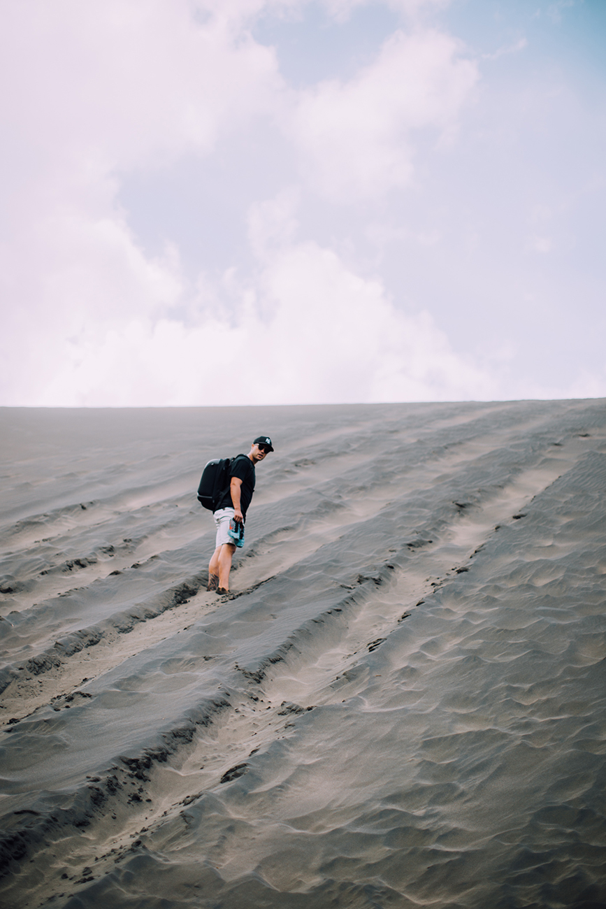 ... this massive steep black sand dune!