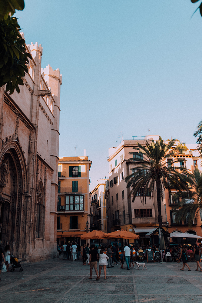 a pretty little square in the old town of palma