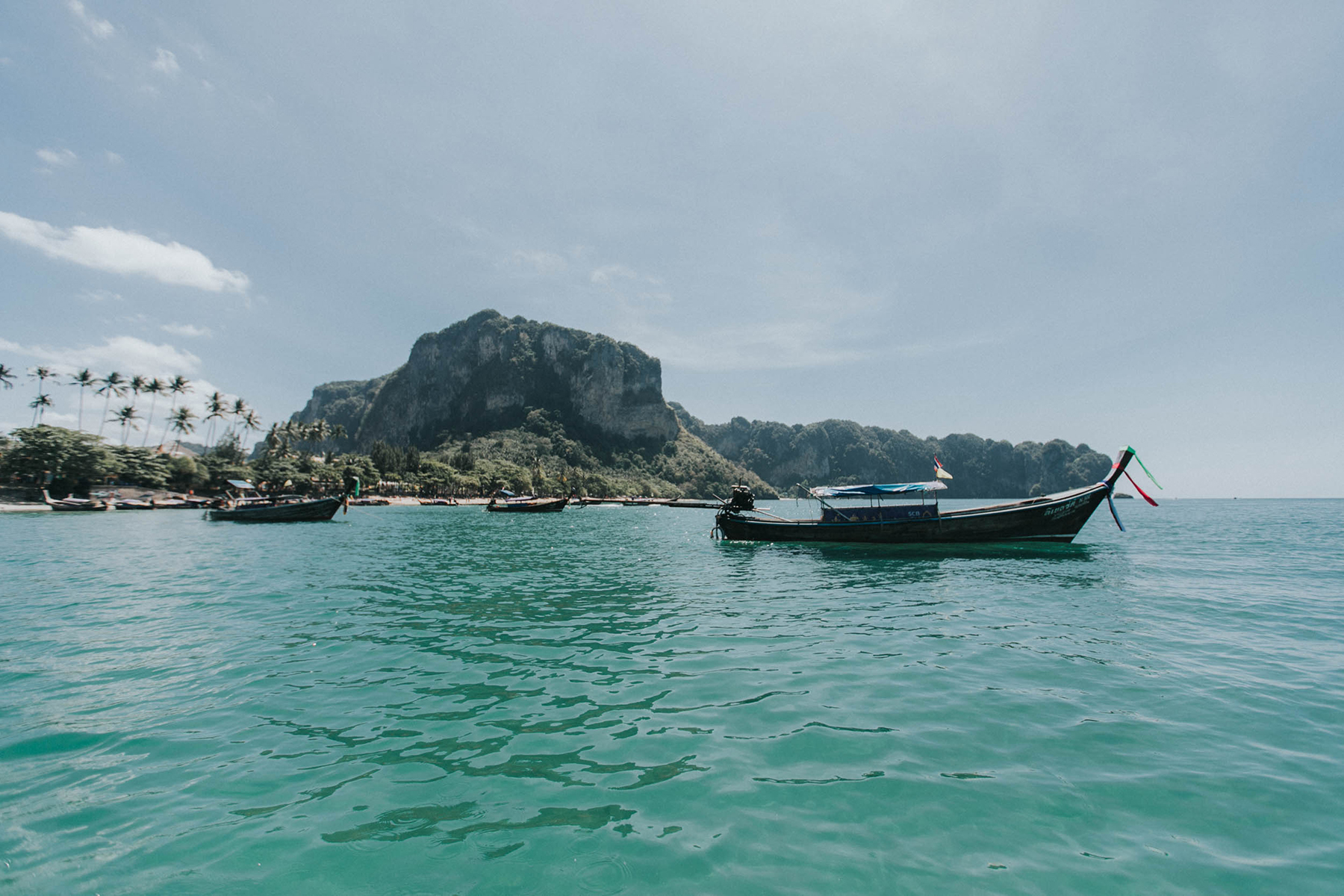 the view of ao nang from the boat on our way to ko poda