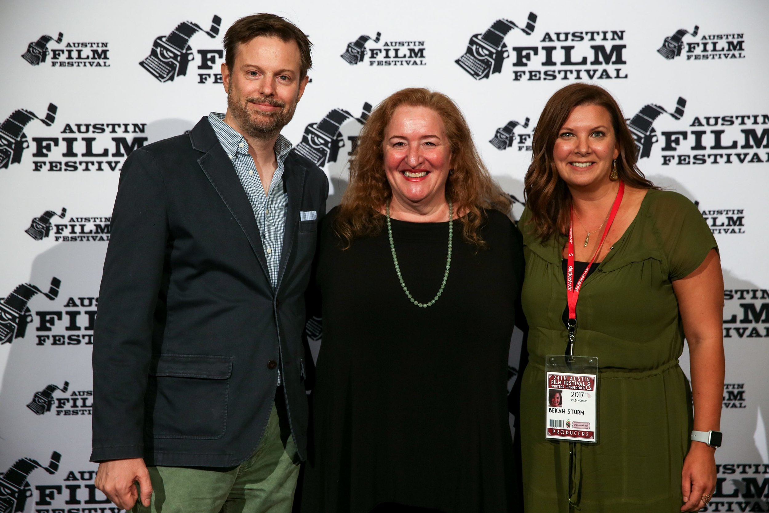 Francis Stokes, Rusty Schwimmer and Rebekah Sturm arrive at Austin Film Festival Photo by Waytao Shing